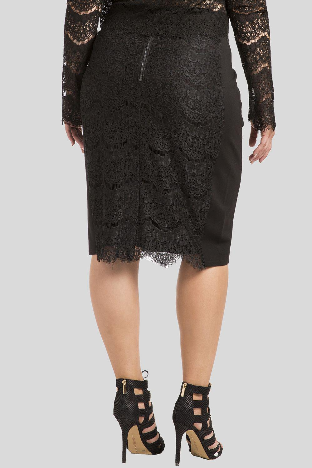 Plus Size Tori Black Pencil Skirt in Ponte and Lace