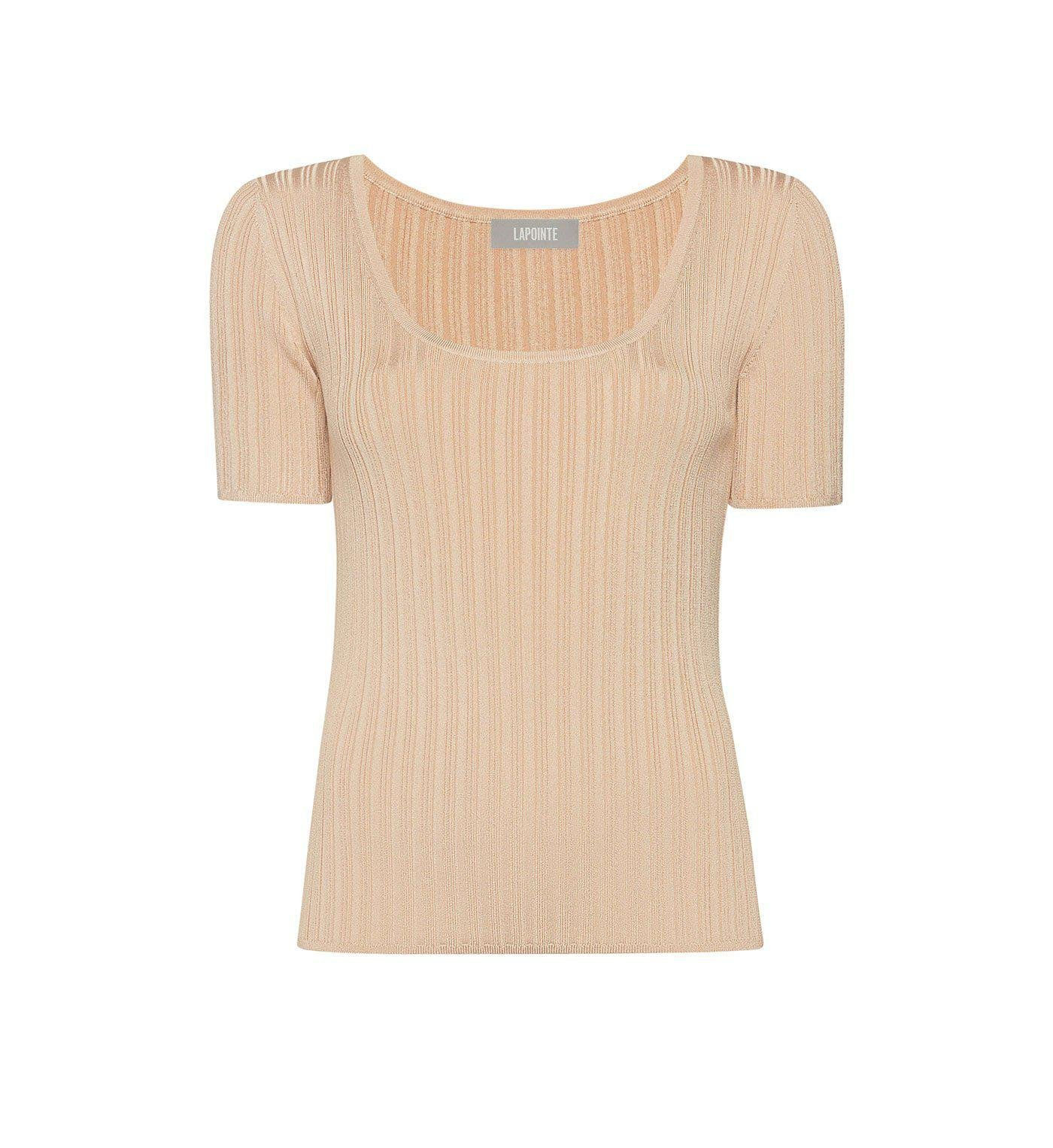 RIBBED KNIT SCOOP NECK TEE 0