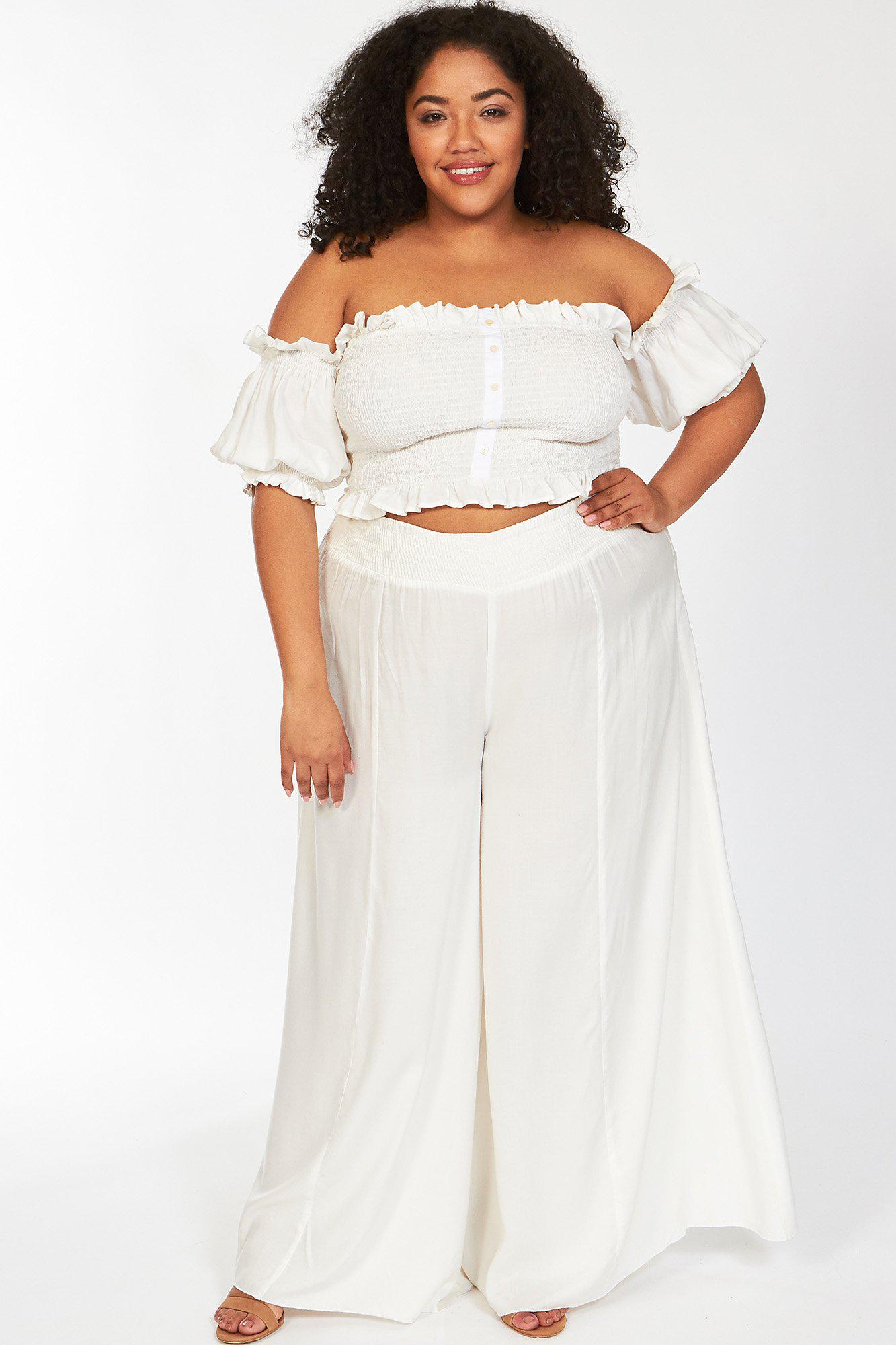 White True Karma Off The Shoulder Crop Top and Pants 1