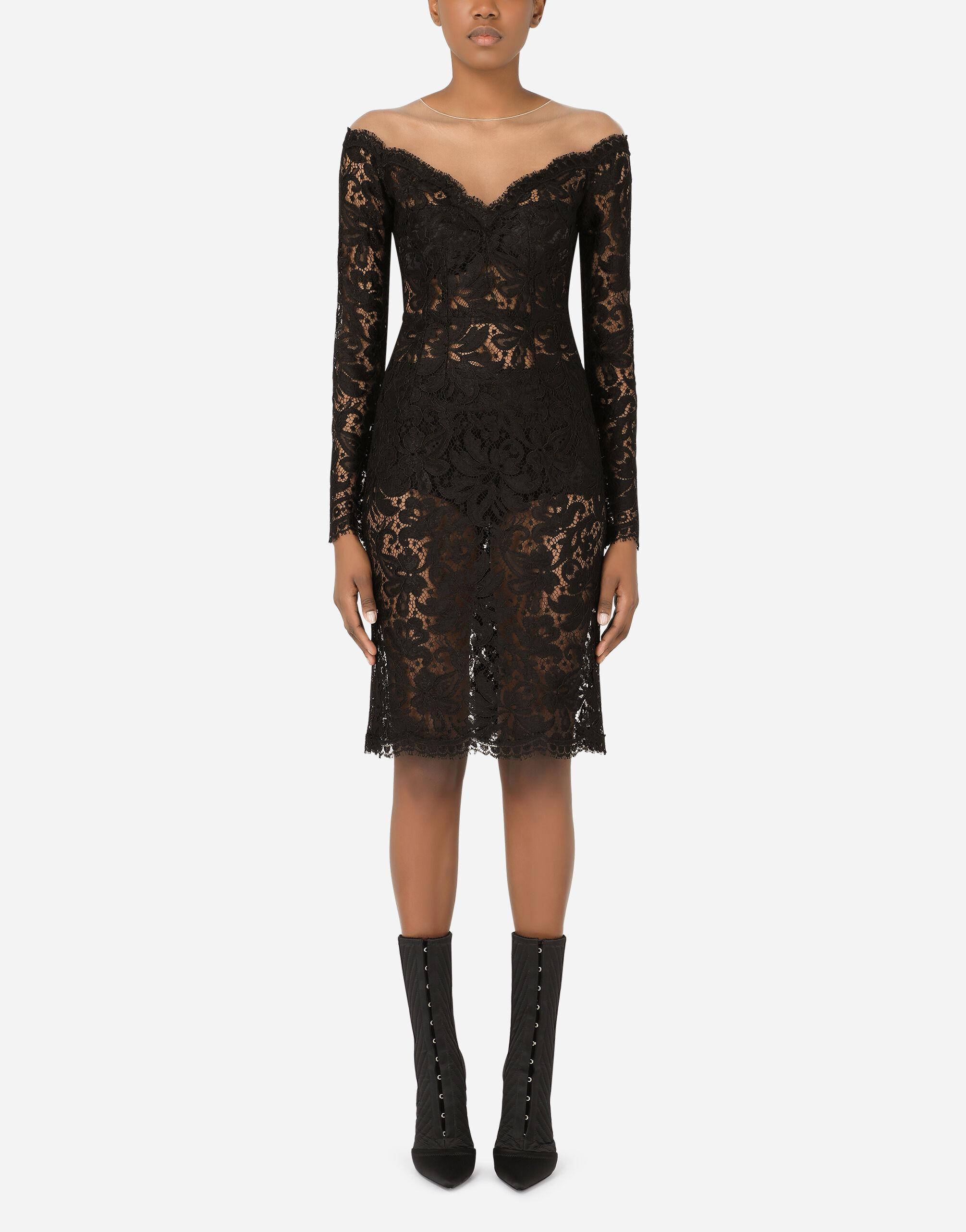 Lace and tulle midi dress
