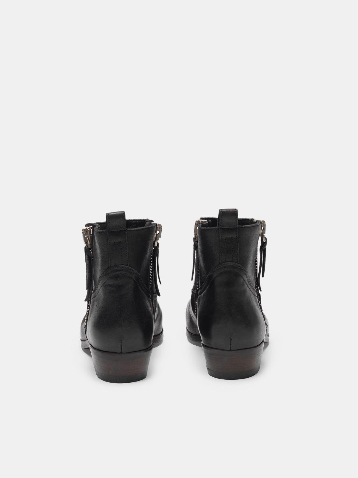 Viand ankle boots in leather with cowboy-style decoration 1