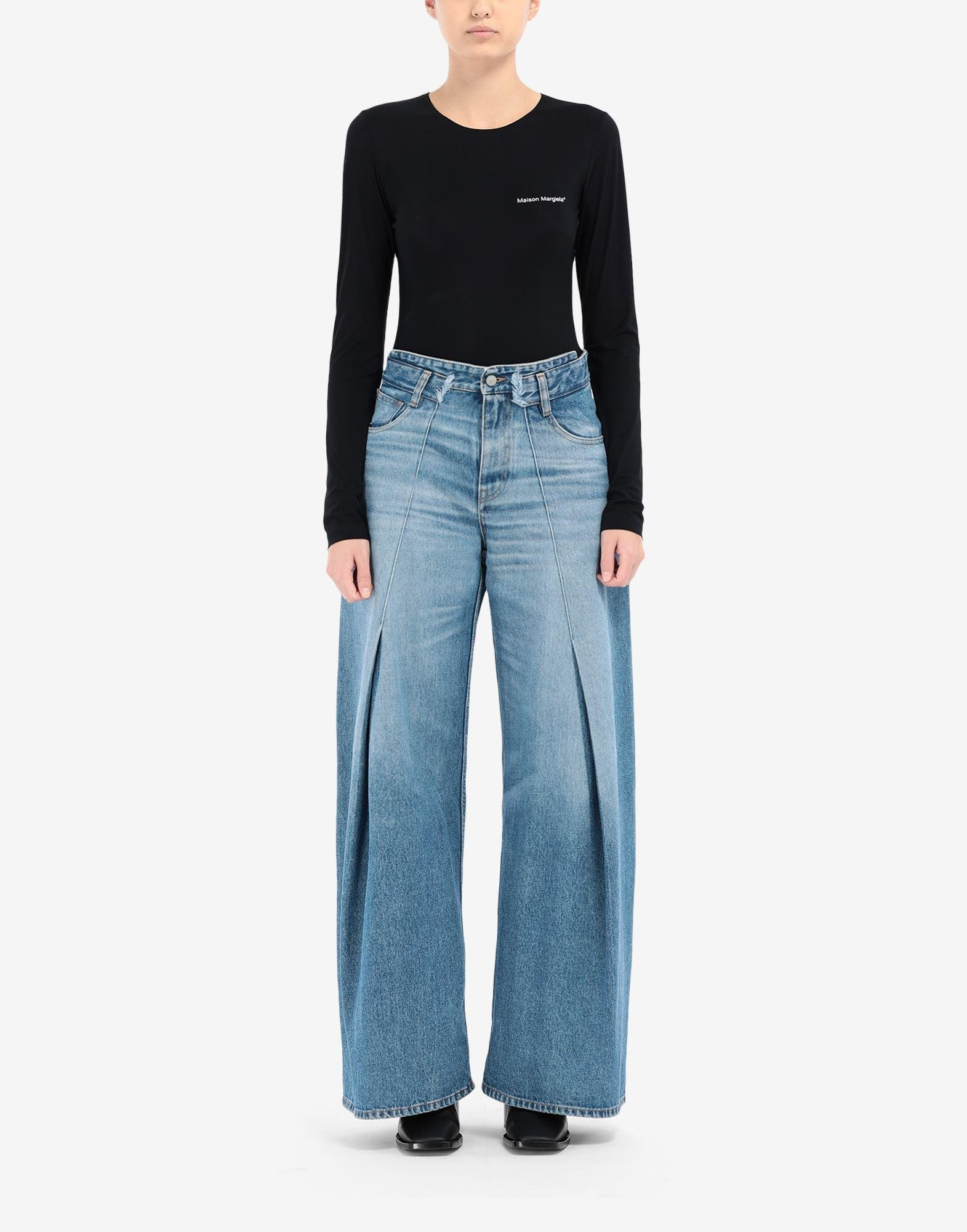 Pintuck flared jeans