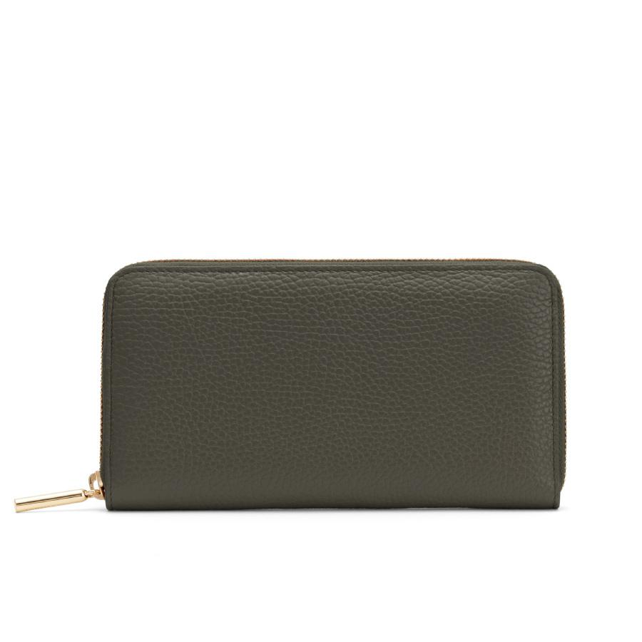 Women's Classic Zip Around Wallet in Dark Olive/Blush Pink | Pebbled Leather by Cuyana