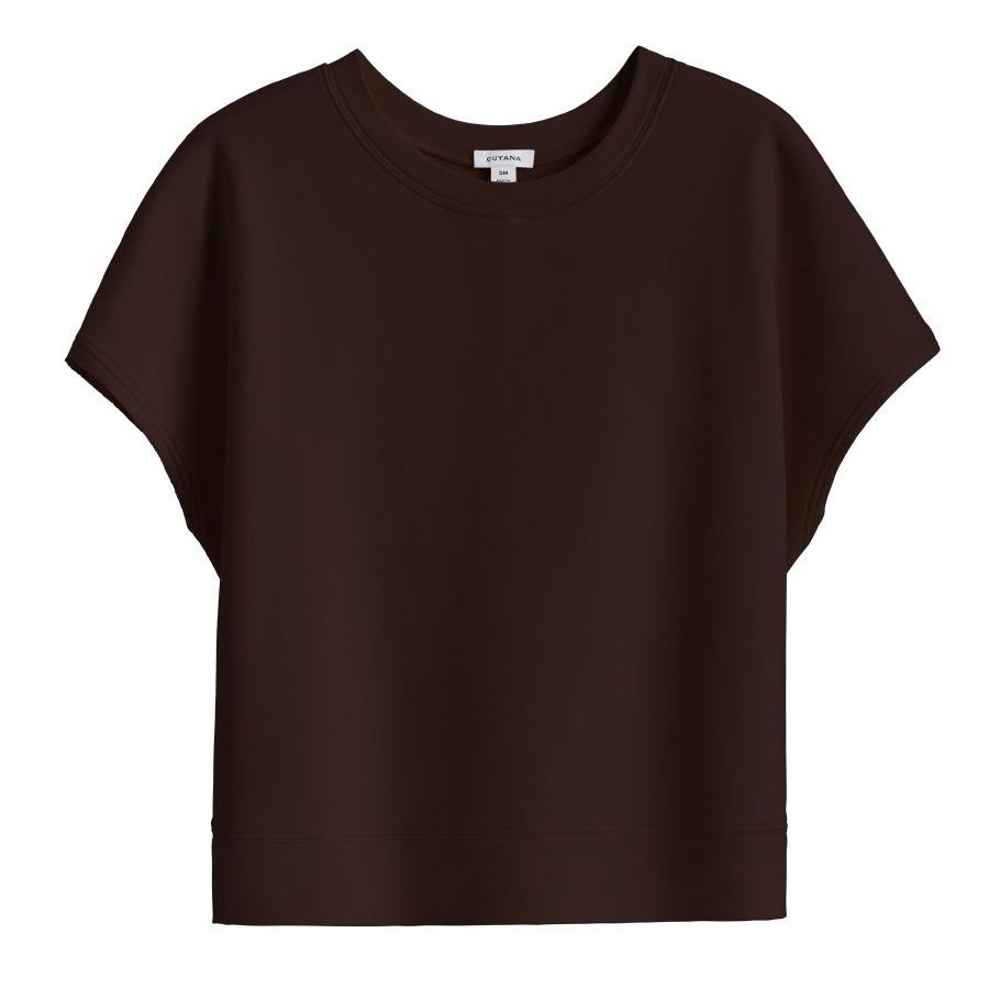 Women's French Terry Short Sleeve Sweatshirt in Chocolate | Size: