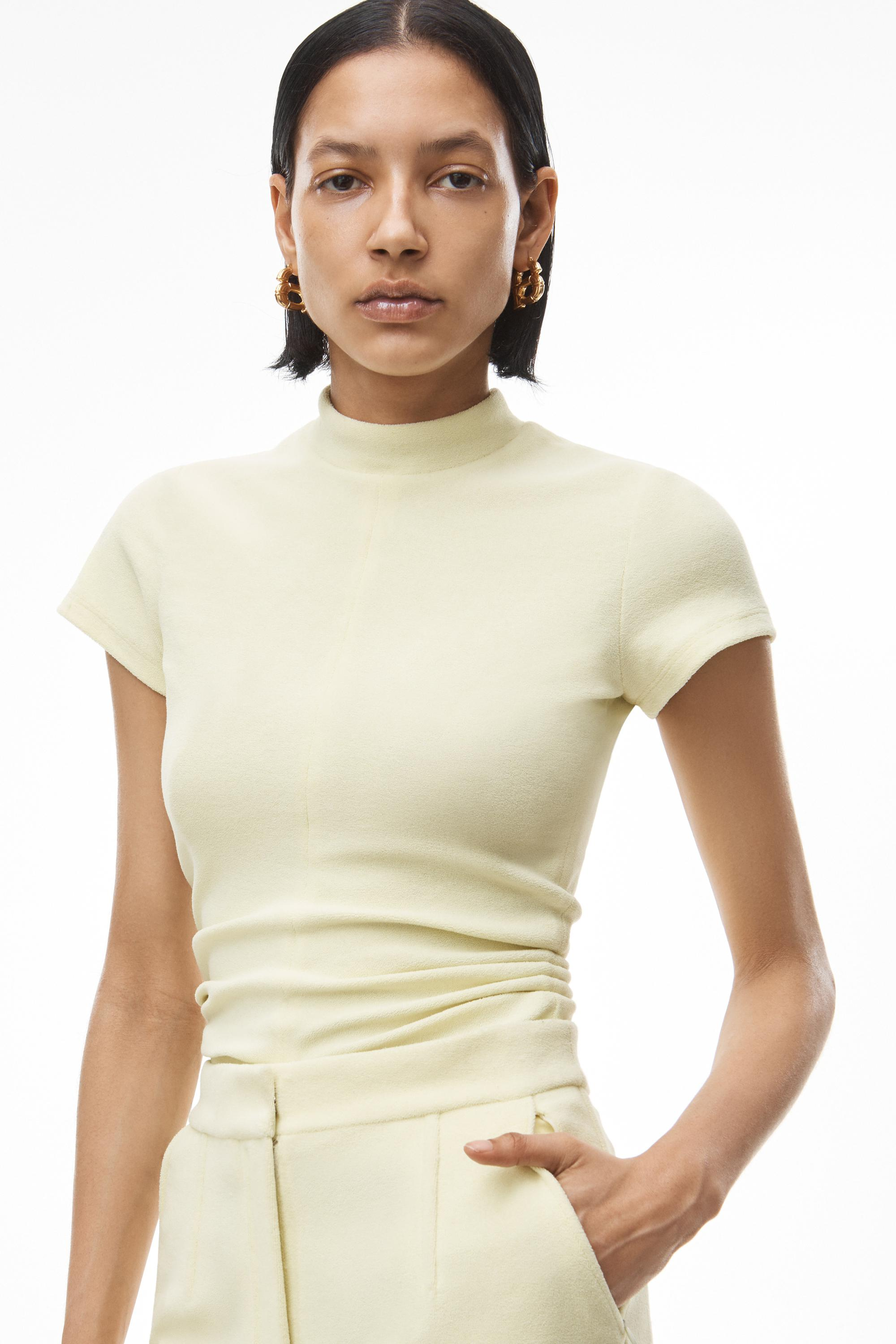 mock neck top in ruched velour tailoring 2