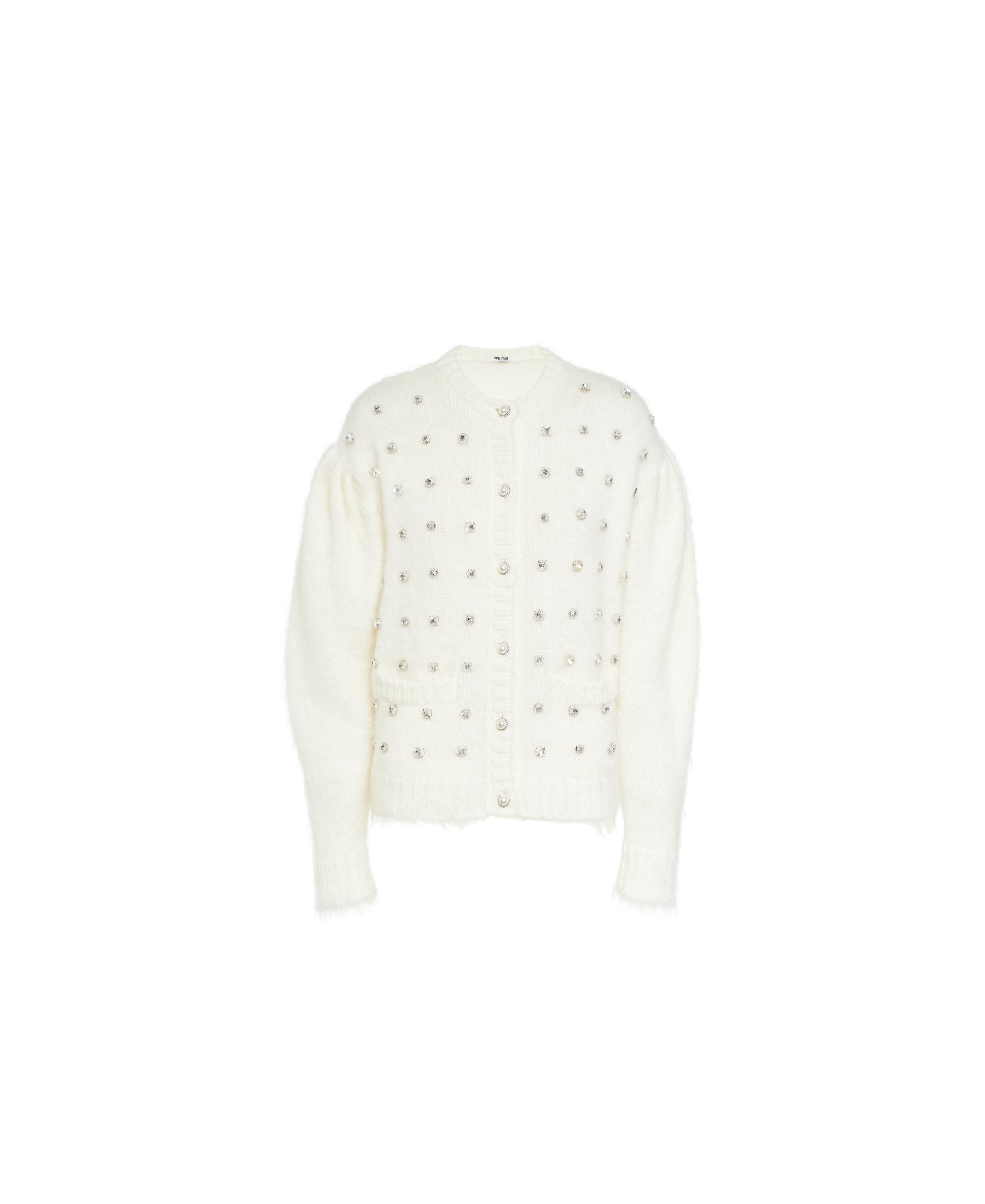 Embroidered Mohair Cardigan Women Chalk White