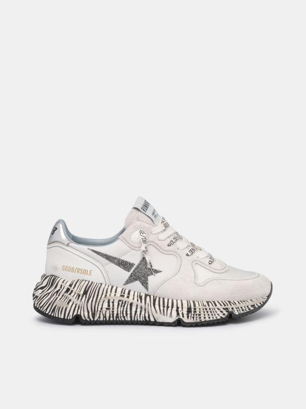 Running Sole sneakers with zebra-print sole and crystals
