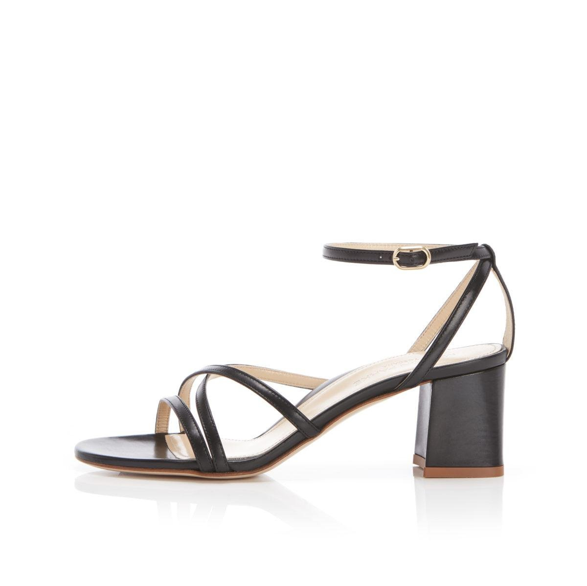 Bianca | Strappy Leather Block Heel Ankle Tie Sandal