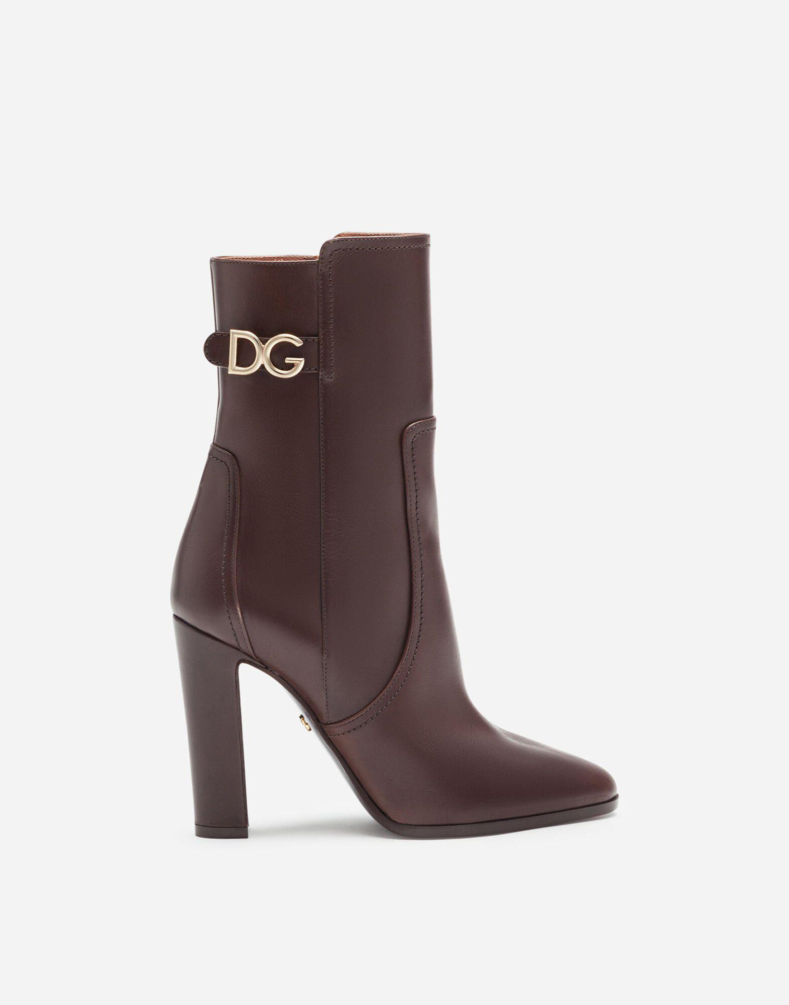 Ankle boots in cowhide with DG logo 0