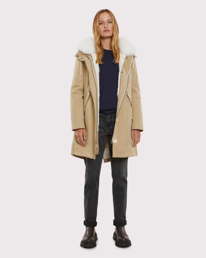 regular parka in technical cotton and fur