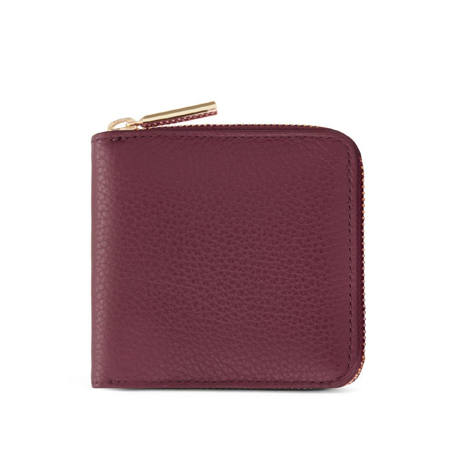 Women's Small Classic Zip Around Wallet in Merlot/Blush Pink | Pebbled Leather by Cuyana