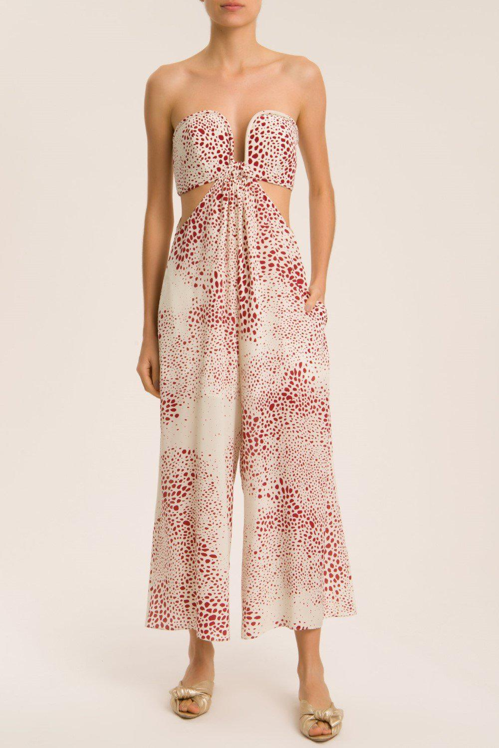 Serpent Strapless Jumpsuit With Side Cut-Outs