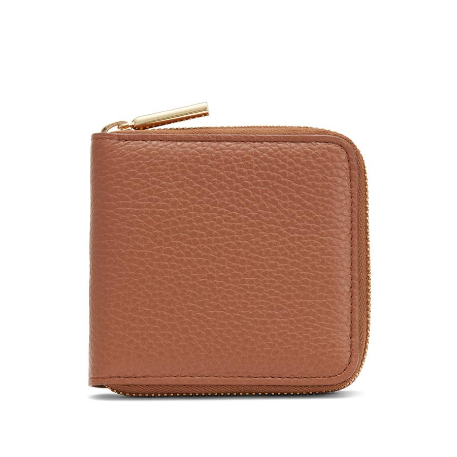 Women's Small Classic Zip Around Wallet in Caramel/Blush Pink | Pebbled Leather by Cuyana