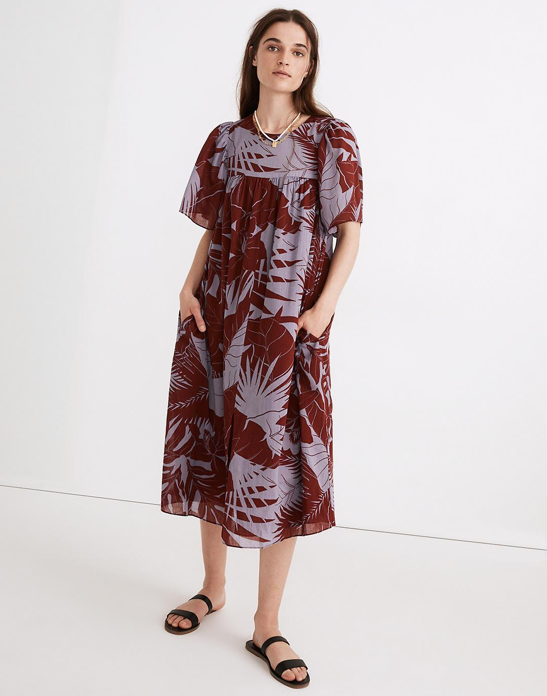 Flutter-Sleeve Caftan Dress in Tropical Vacation