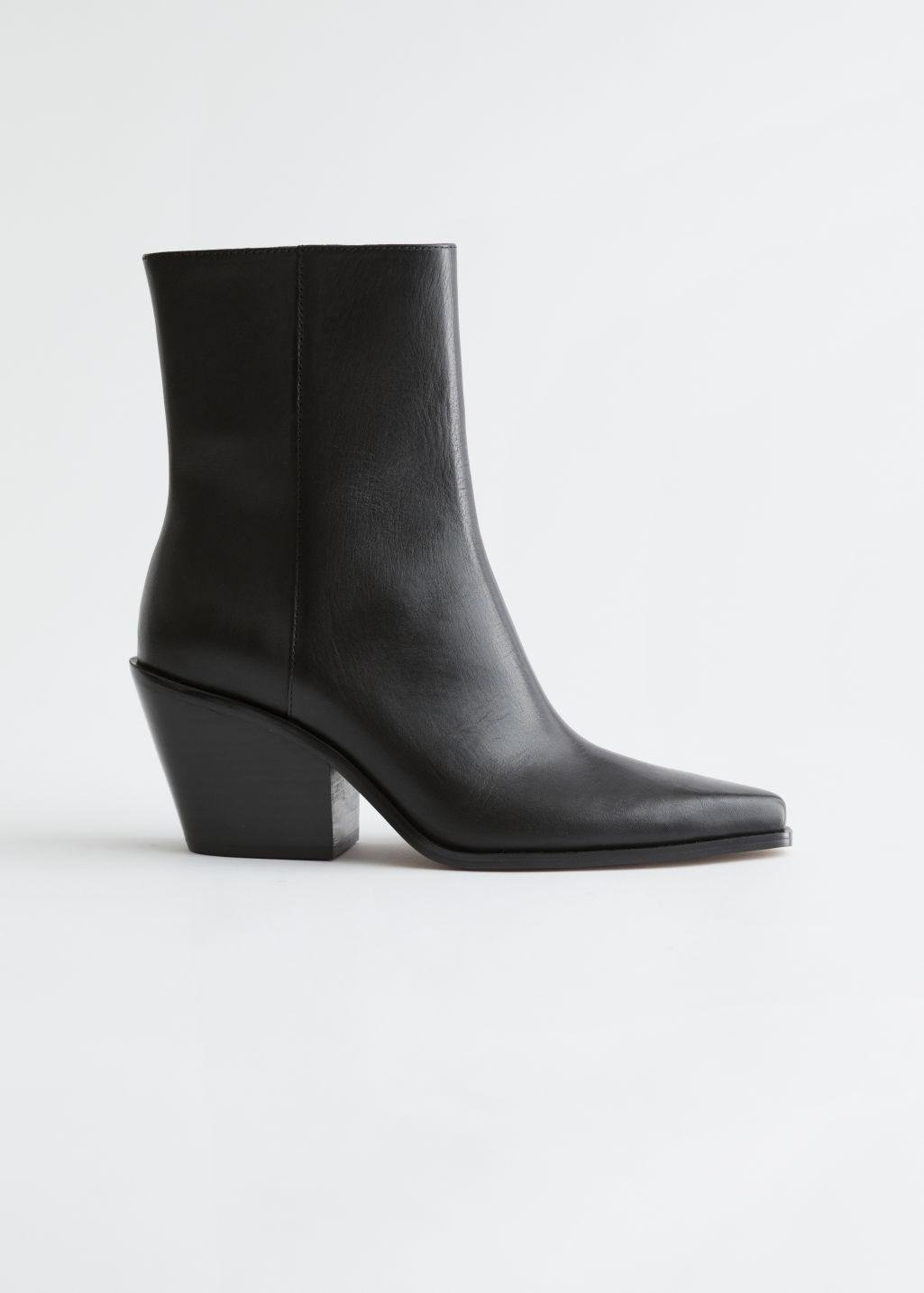 Pointed Leather Heeled Boots