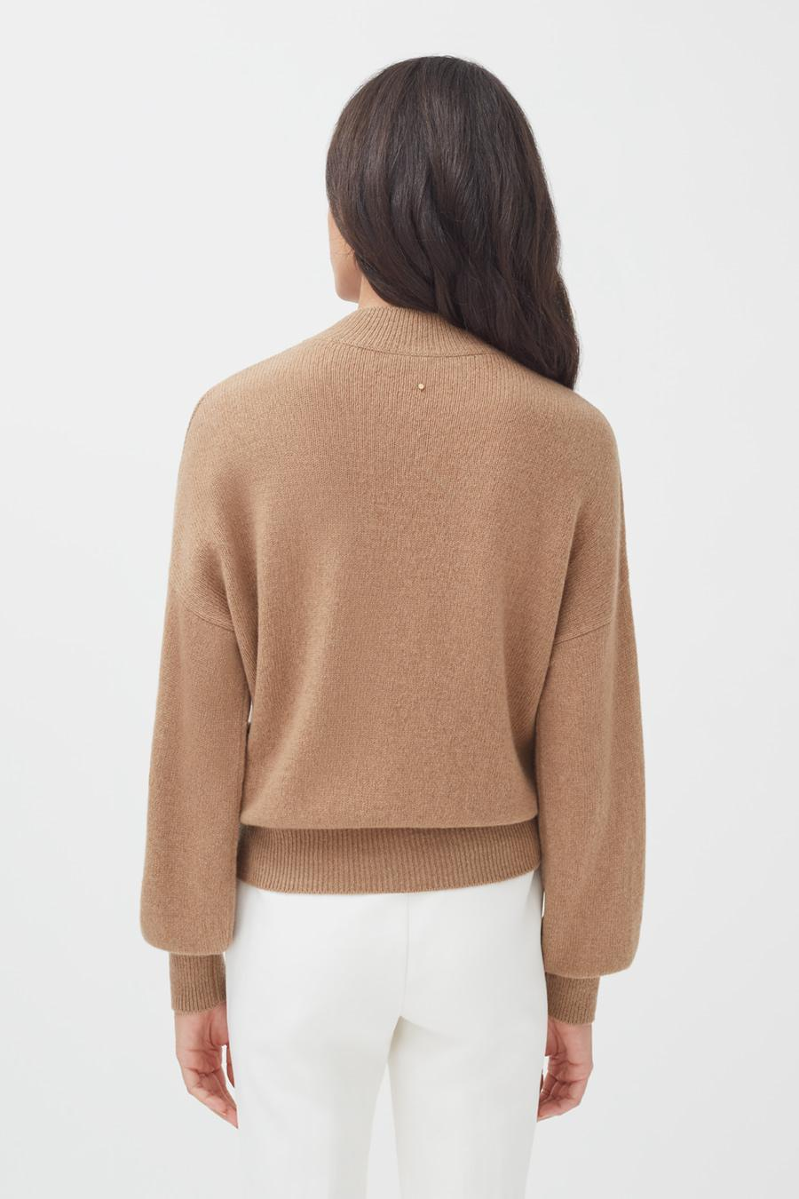 Women's Recycled Mock Neck Sweater in Camel | Size: 2