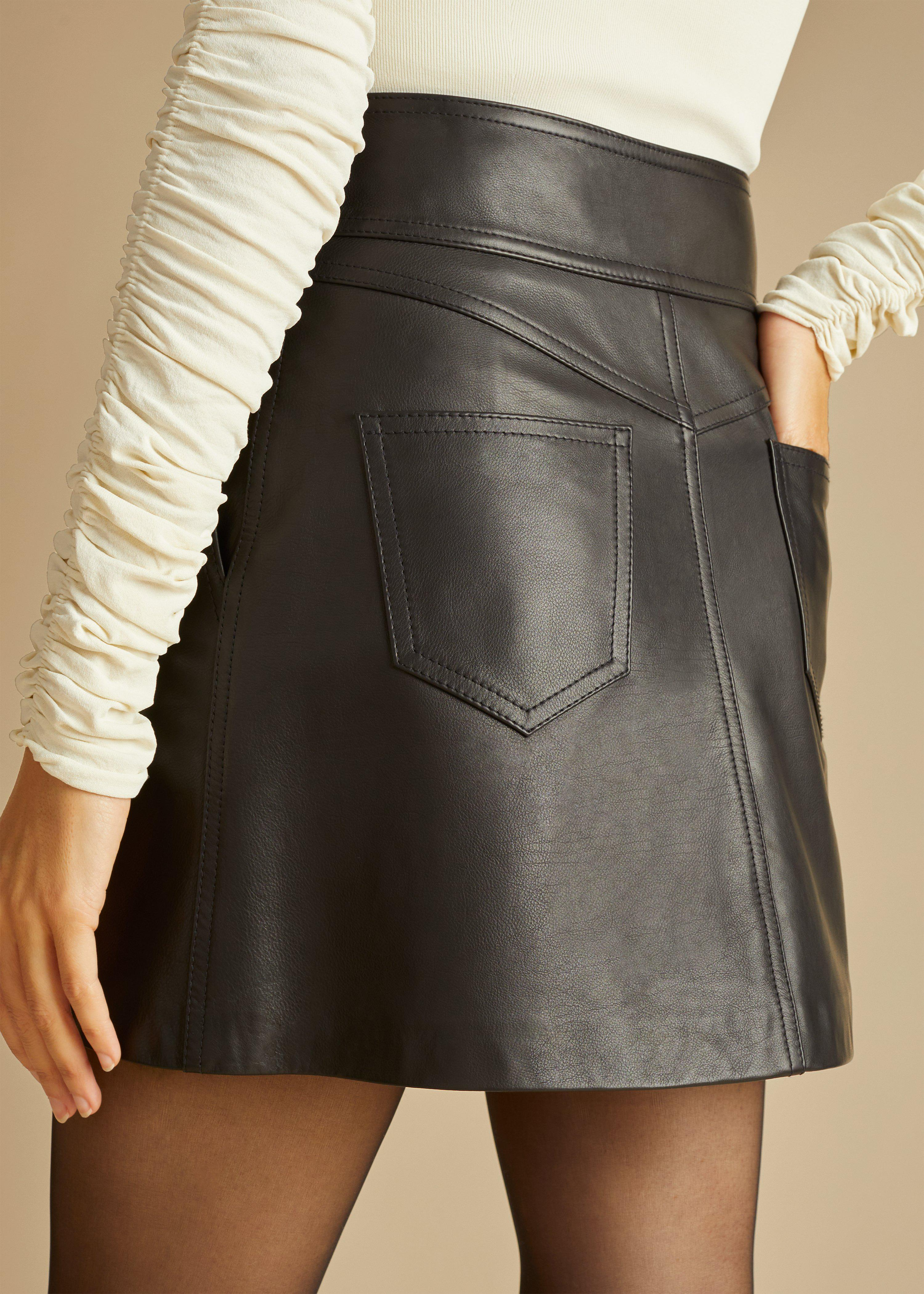 The Giulia Skirt in Black Leather 3