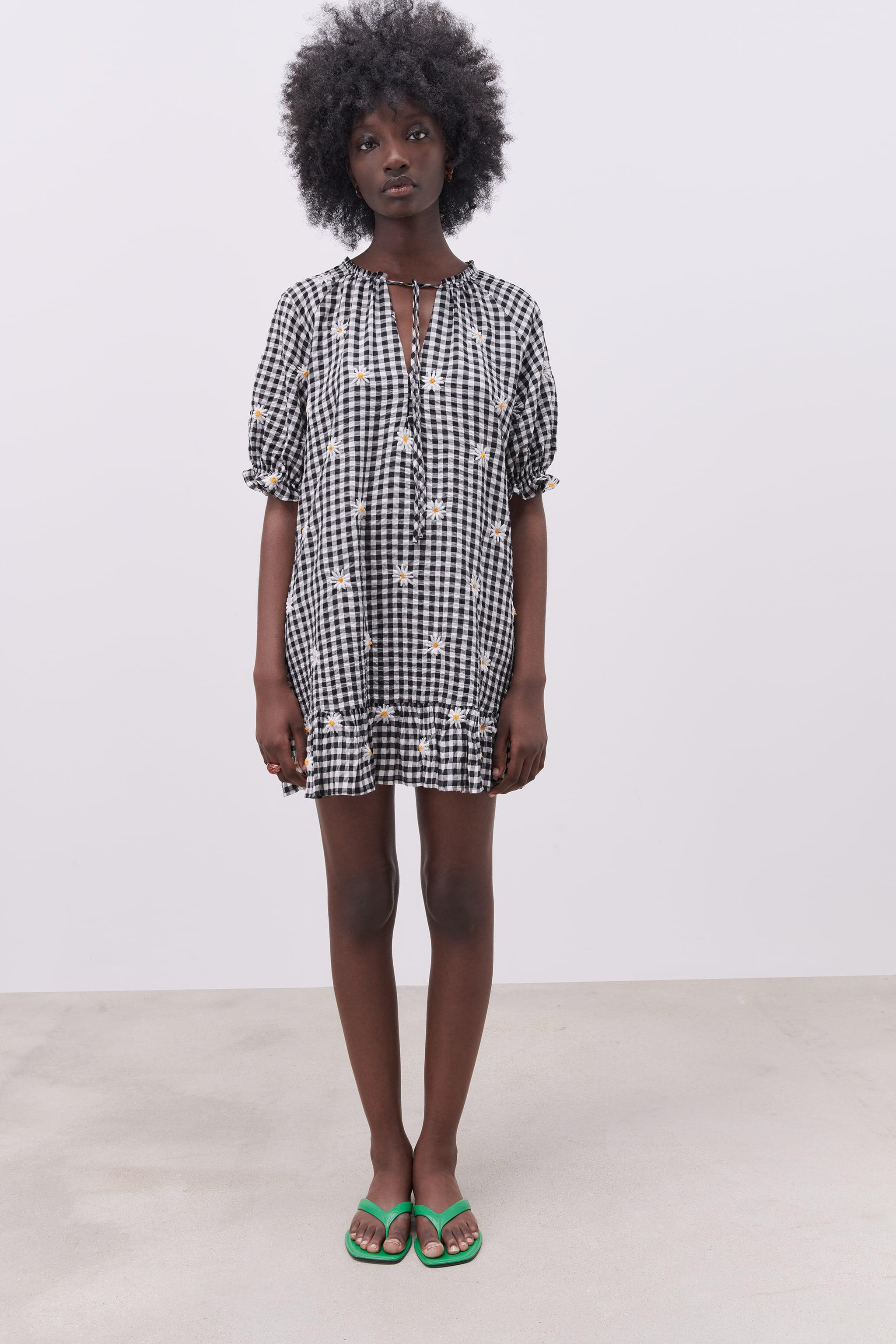 EMBROIDERED GINGHAM DRESS