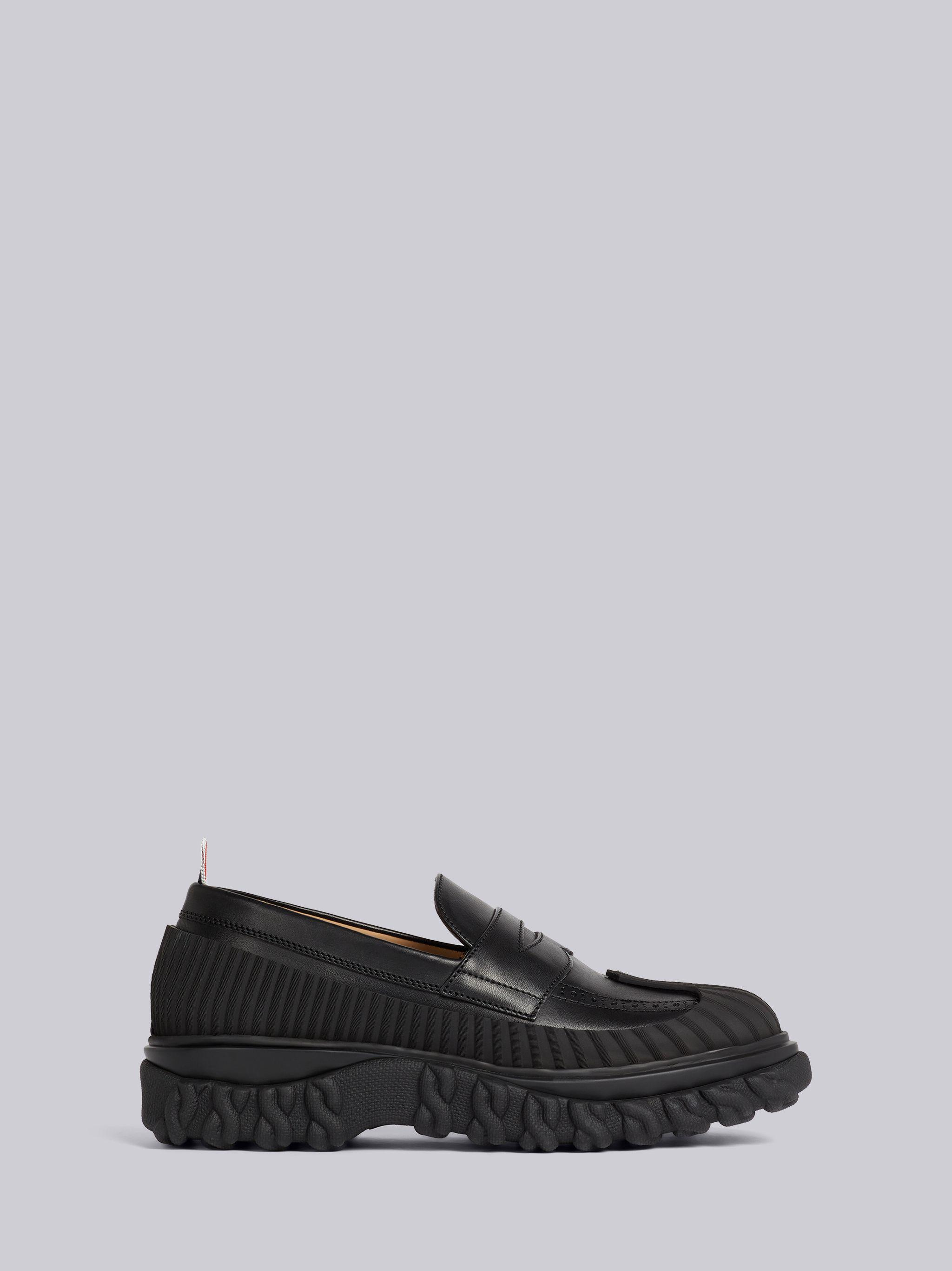 Black Calf Leather Rubber Sole Duck Shoe Penny Loafer