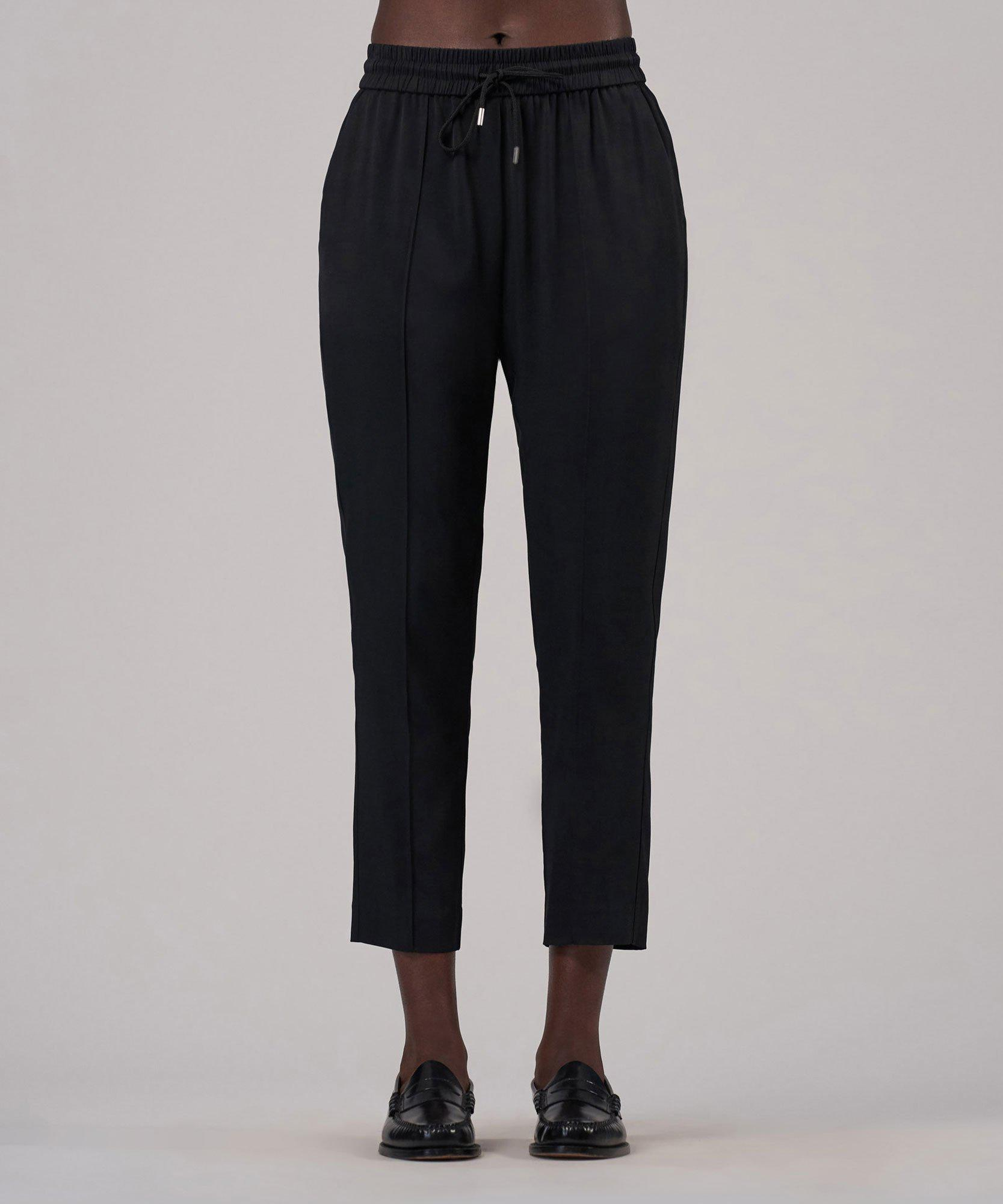 Viscose Twill Cropped Pull-On Pant - Black