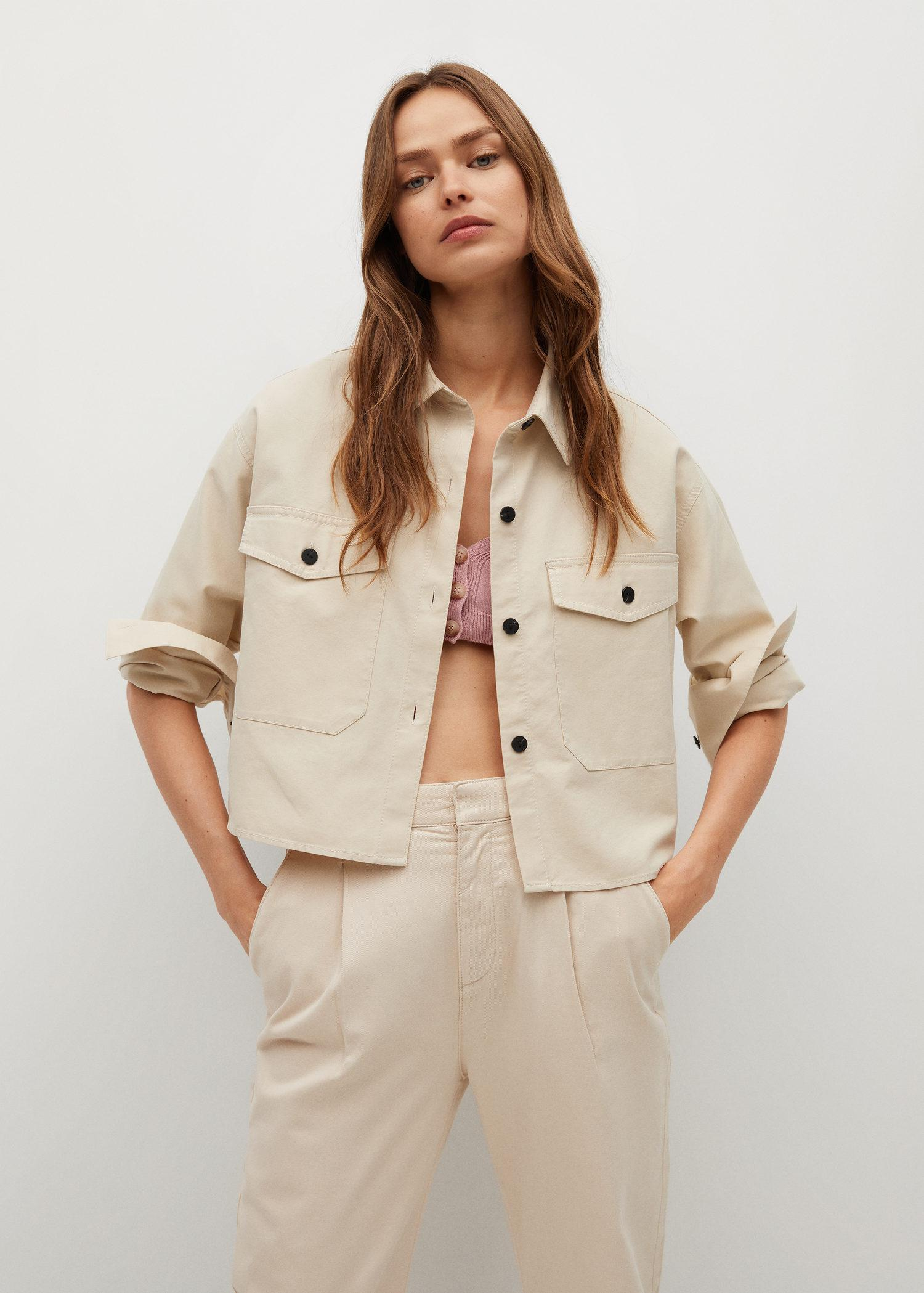 Cropped cotton overshirt