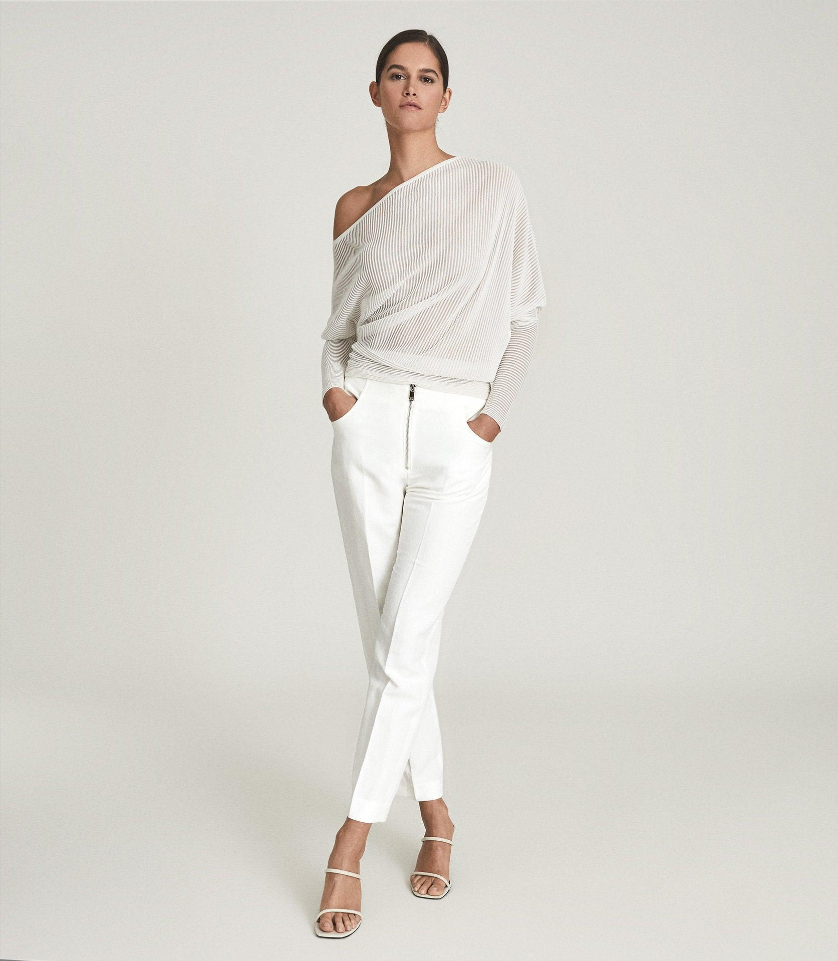 CALLY - LINEN BLEND TROUSERS WITH EXPOSED ZIP