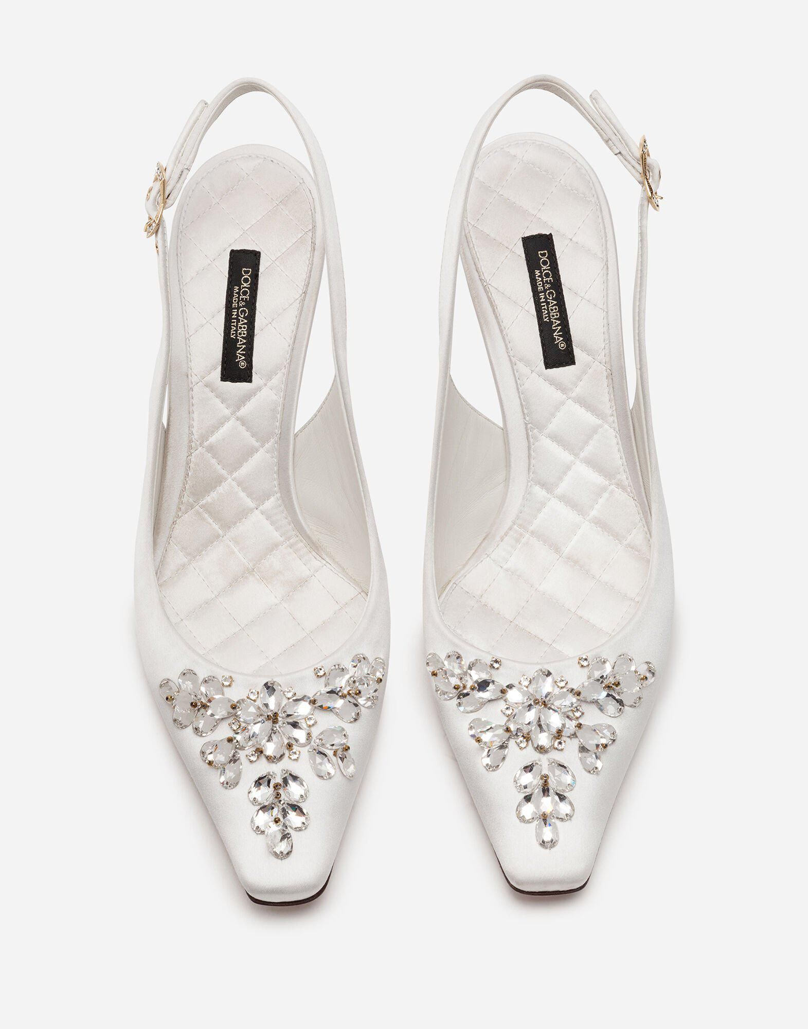 Satin sling back with bejeweled embroidery 3