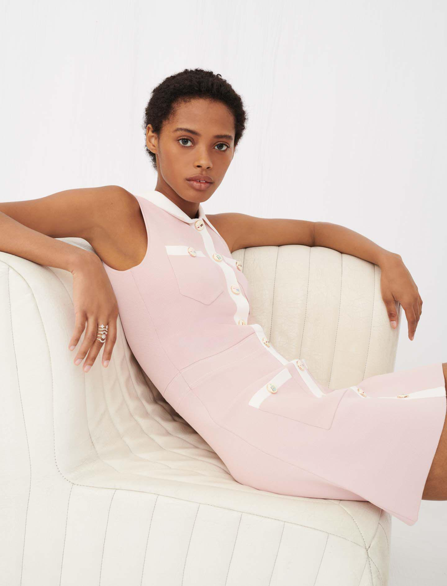 KNIT DRESS WITH CONTRASTING BANDS 0