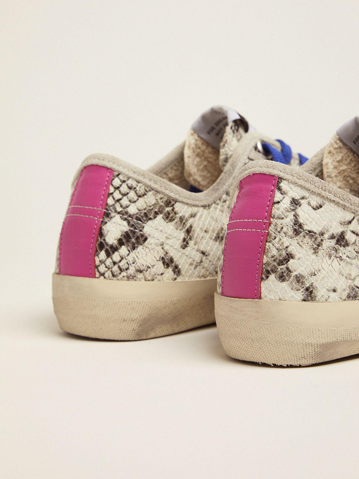 V-Star sneakers in snake-print leather with fuchsia insert 3
