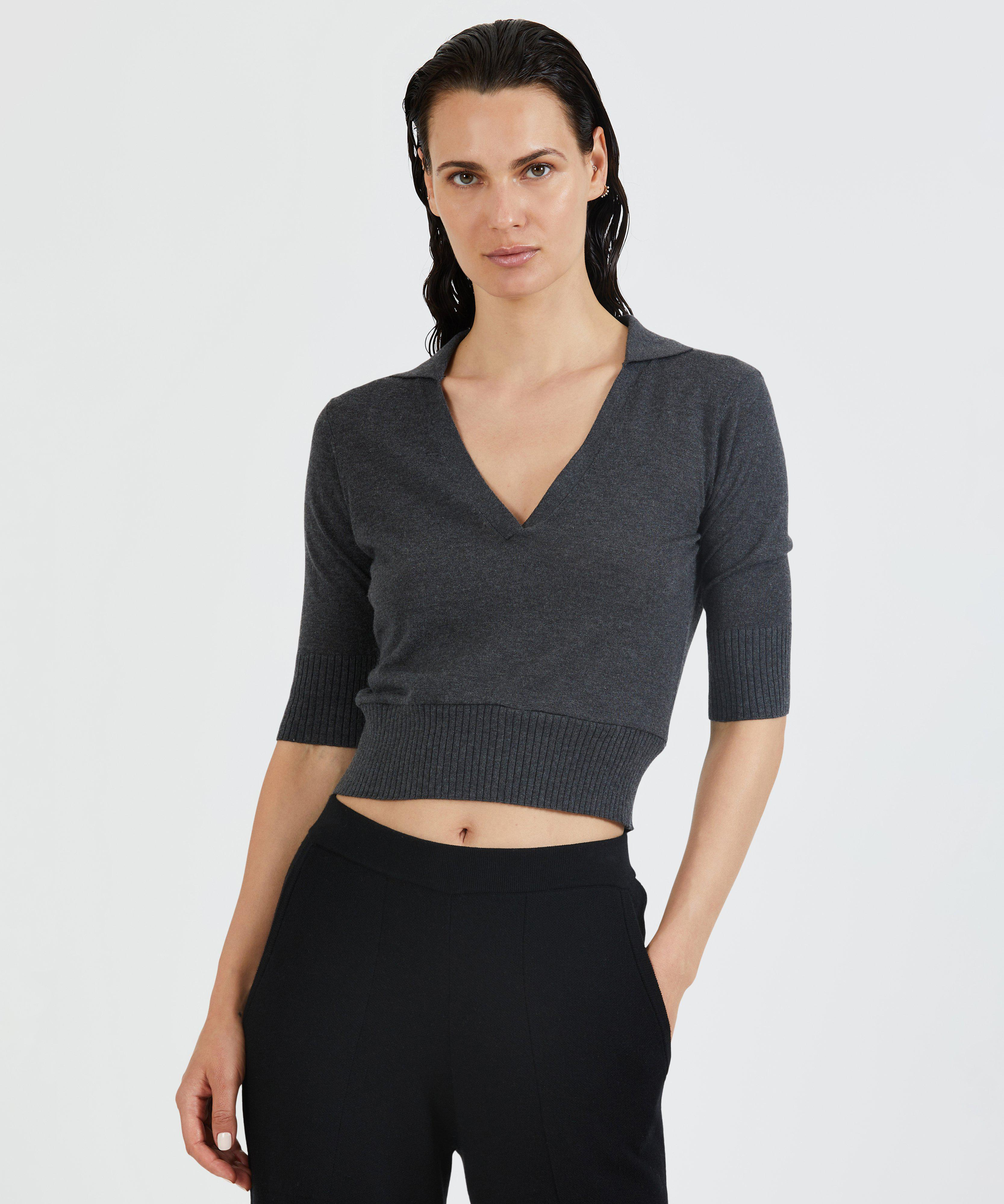 Silk Blend Short Sleeve Polo Sweater - Charcoal