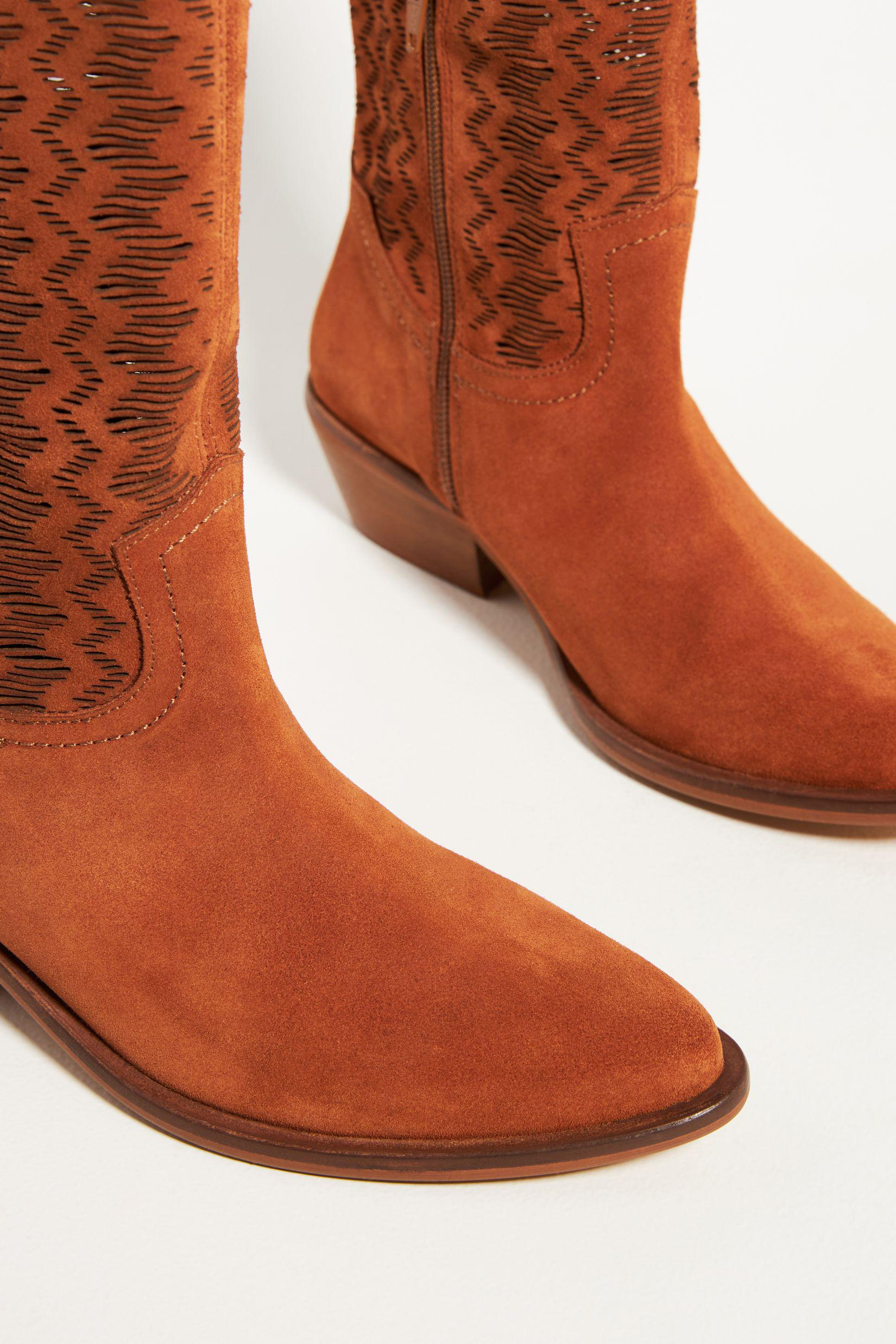 Cut-Out Suede Western Boots 2
