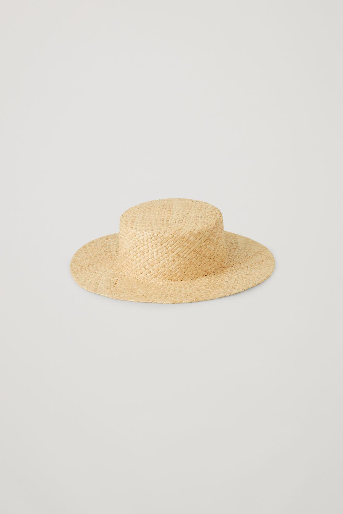 OVERSIZED STRAW BOATER HAT 1