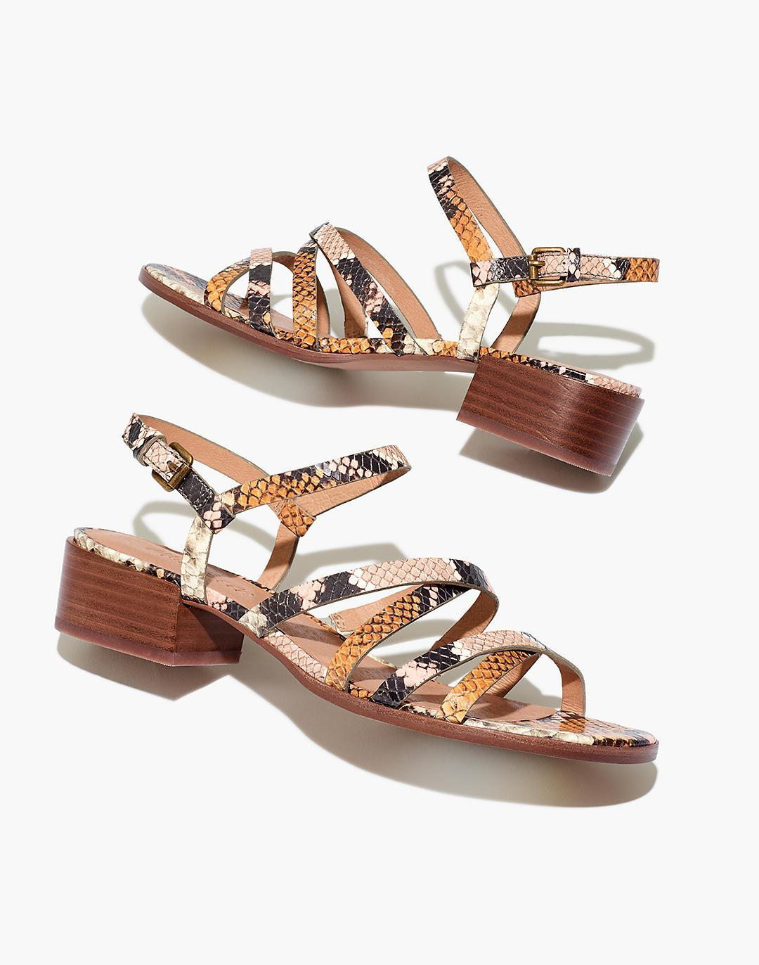 The Lori Sandal in Snake Embossed Leather