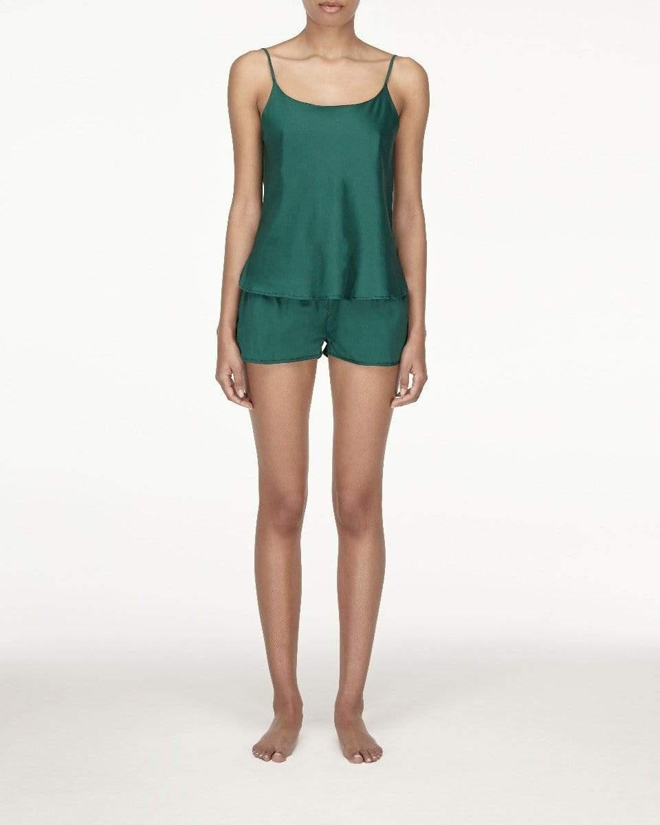 Woven cotton cami top forest green