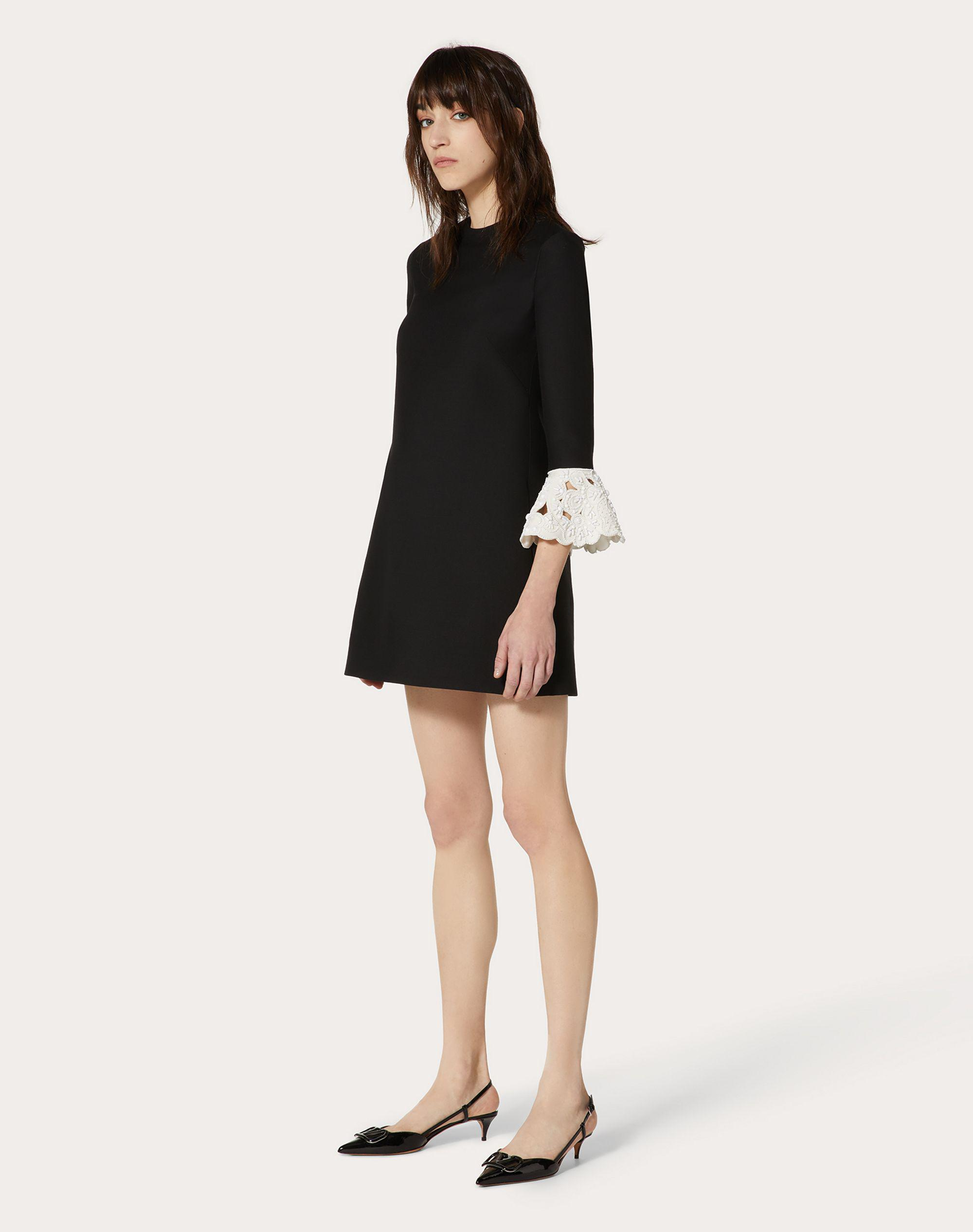 Short Embroidered Crepe Couture Dress