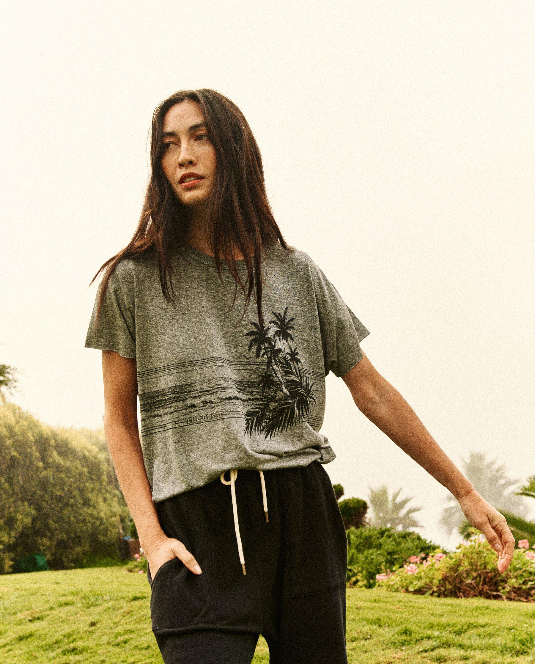 The Crop Tee. Graphic -- Heather Grey with Shoreline Graphic
