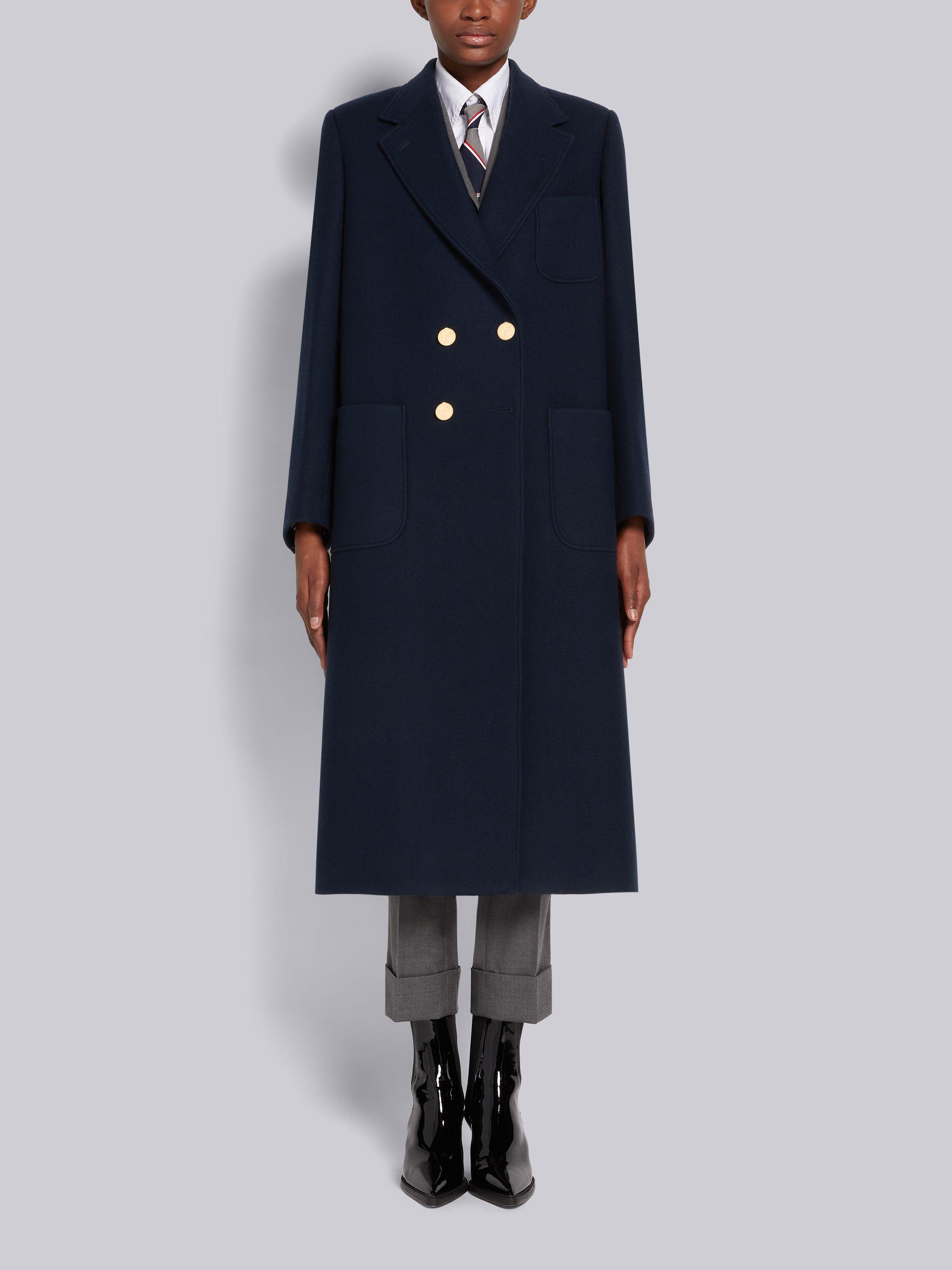 Navy Boiled Wool Oversized Double-breasted Sack Overcoat