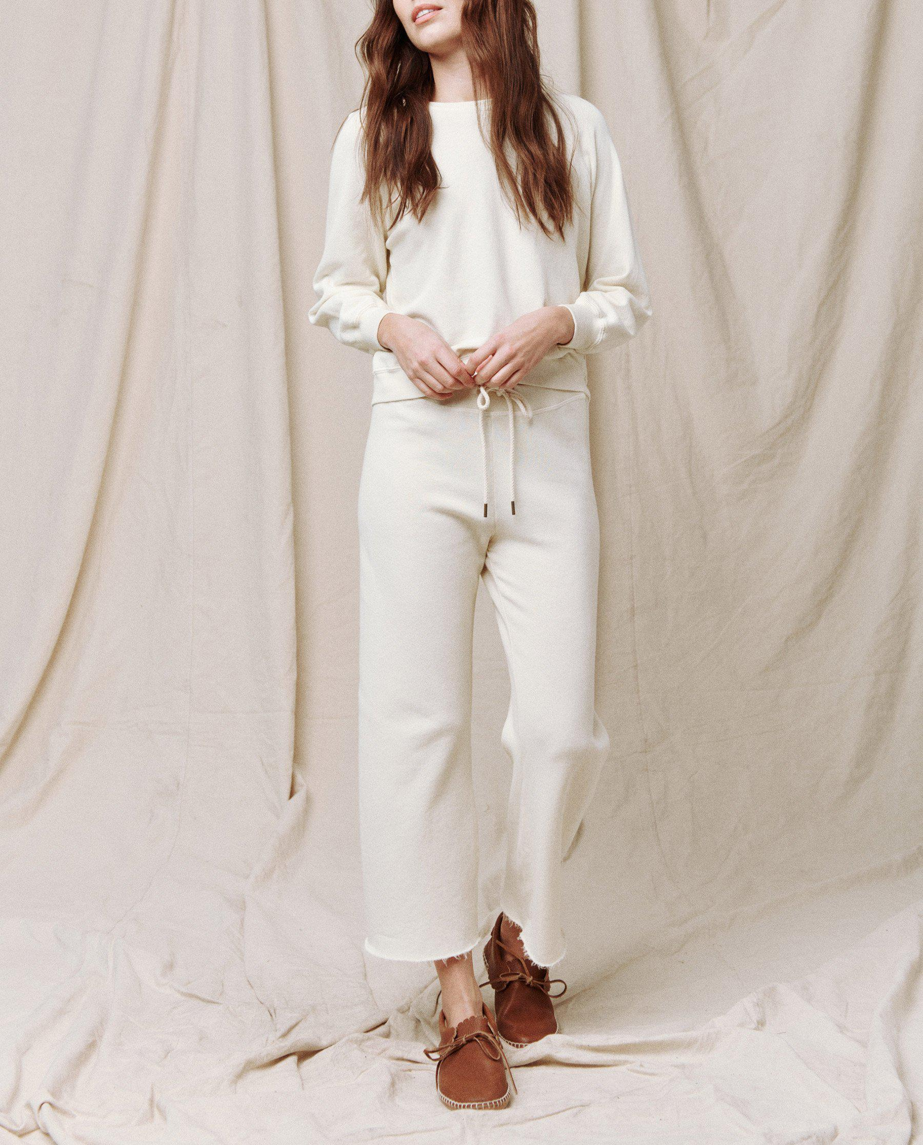 The Wide Leg Cropped Sweatpant. -- WASHED WHITE 2