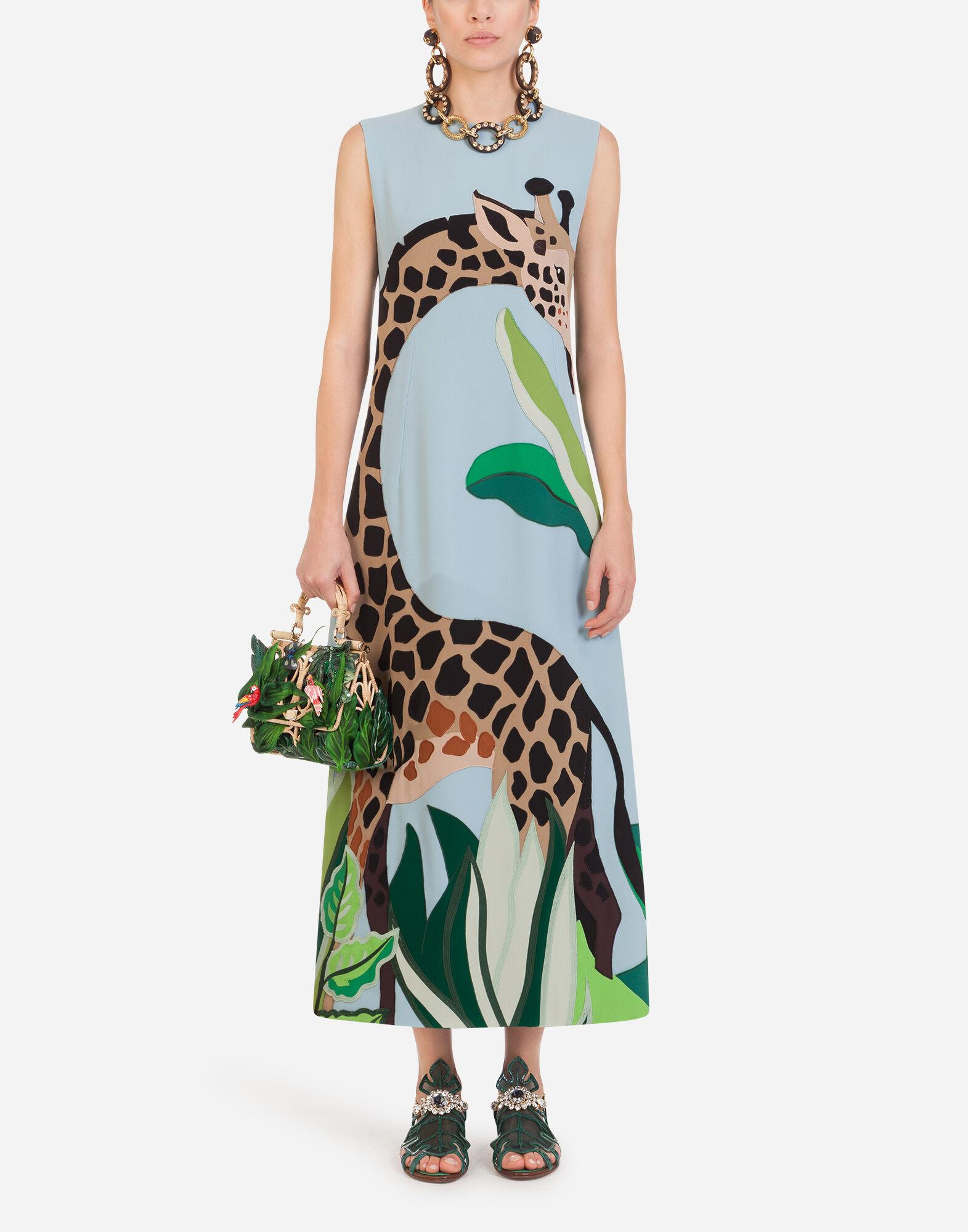 Long sleeveless dress in cady with giraffe patch