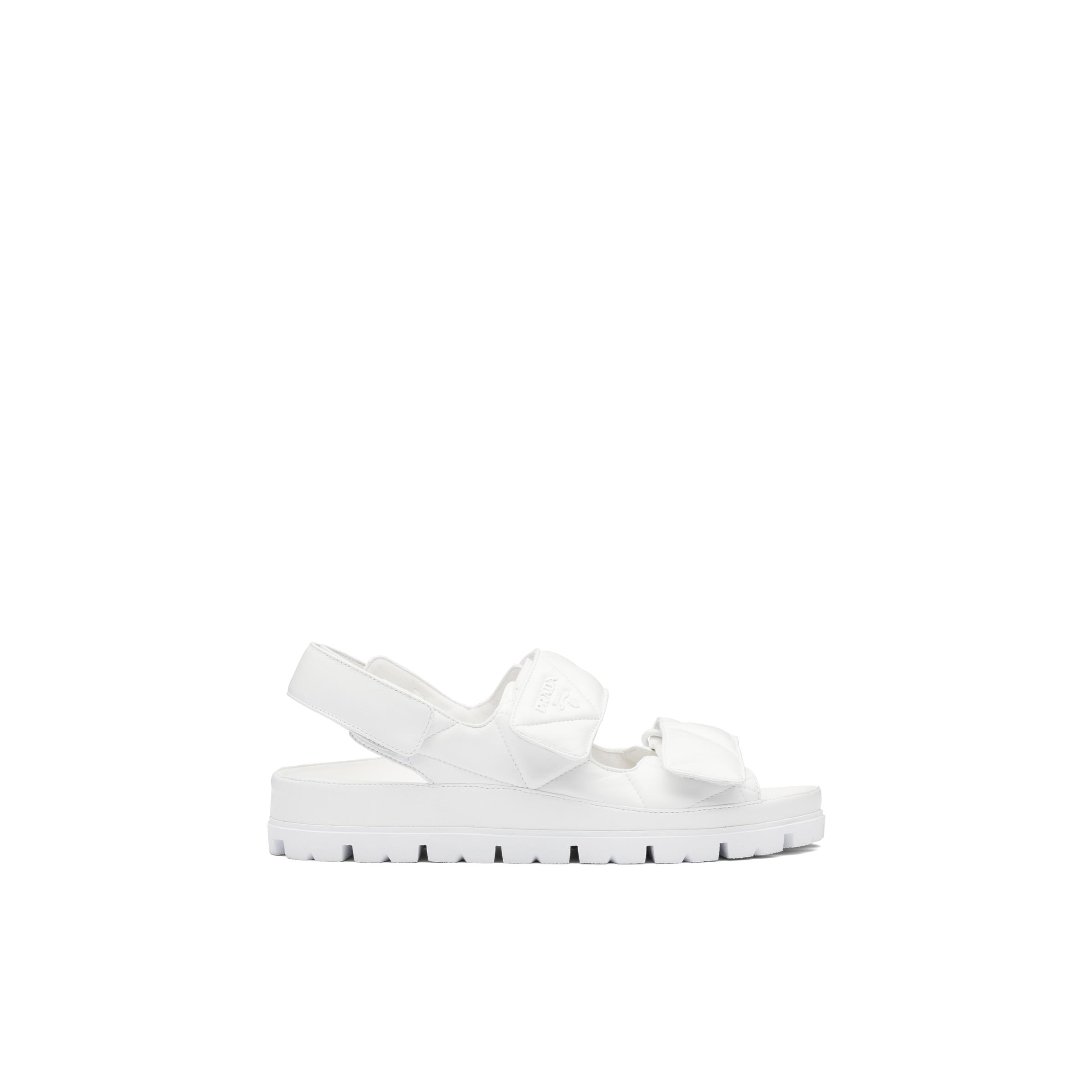 Padded Nappa Leather Sandals Women White 2