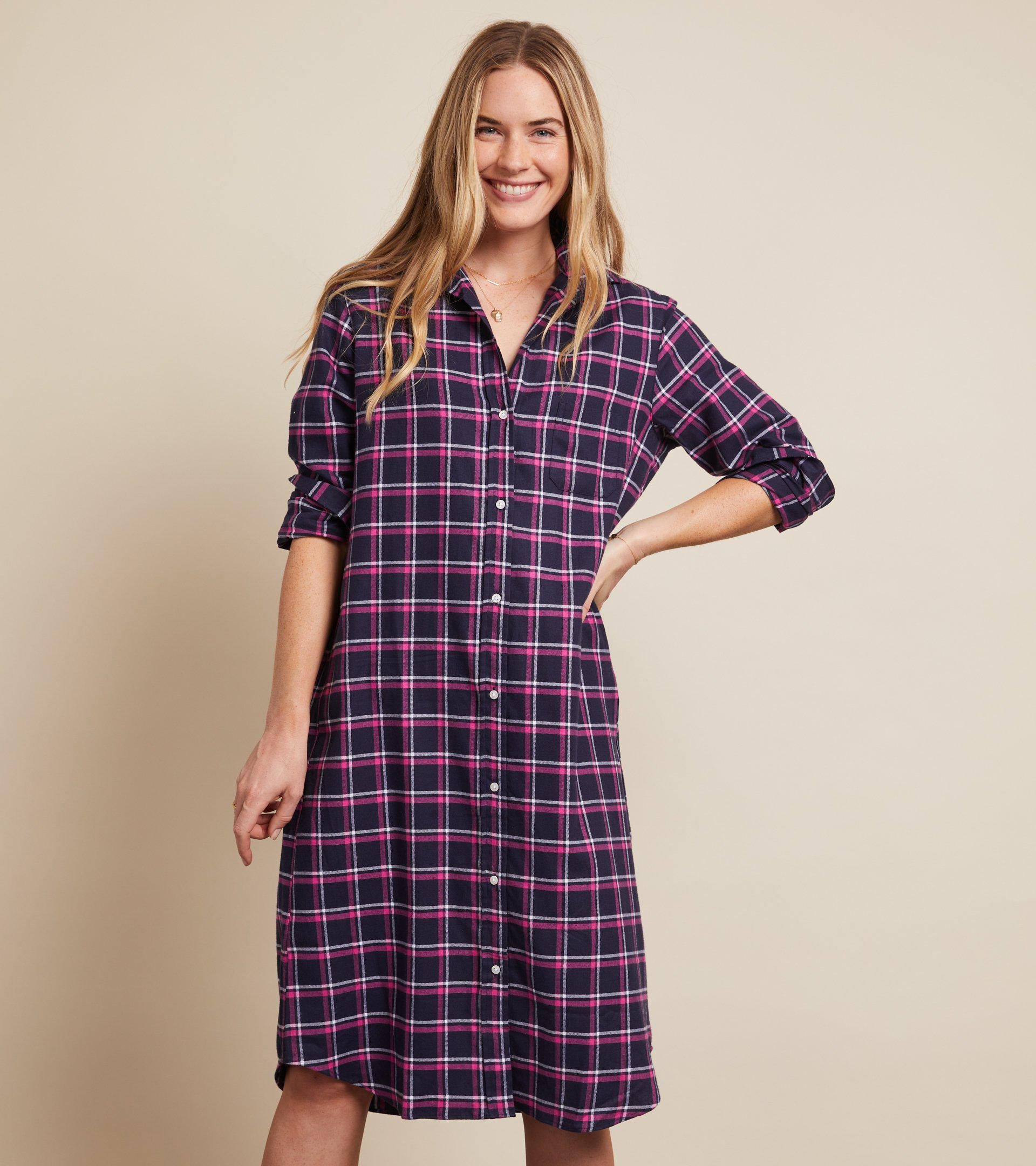 The Hero Midi Dress Navy, Pink, and White Plaid, Feathered Flannel