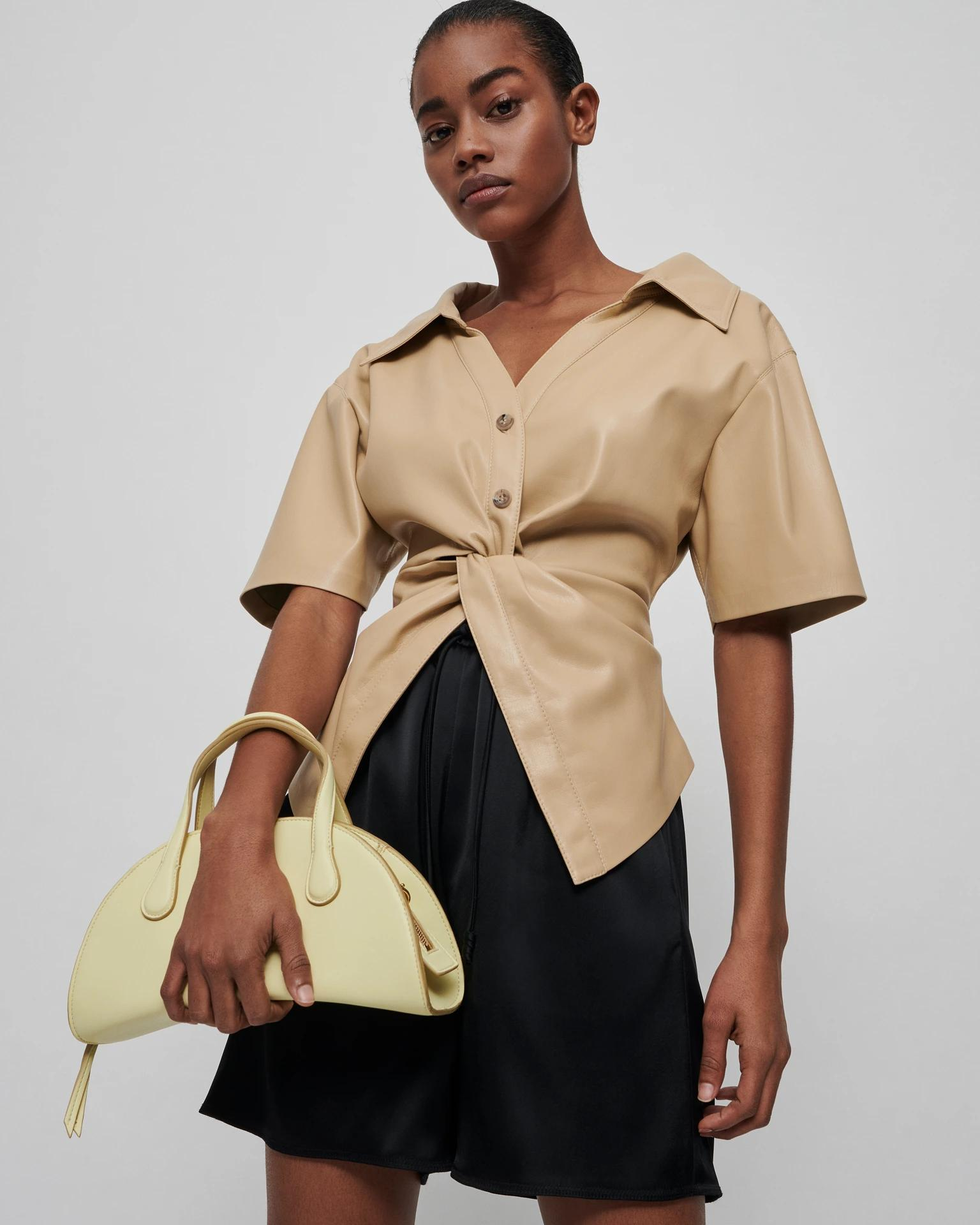 THORA - Twist-front vegan leather shirt - Butter 0
