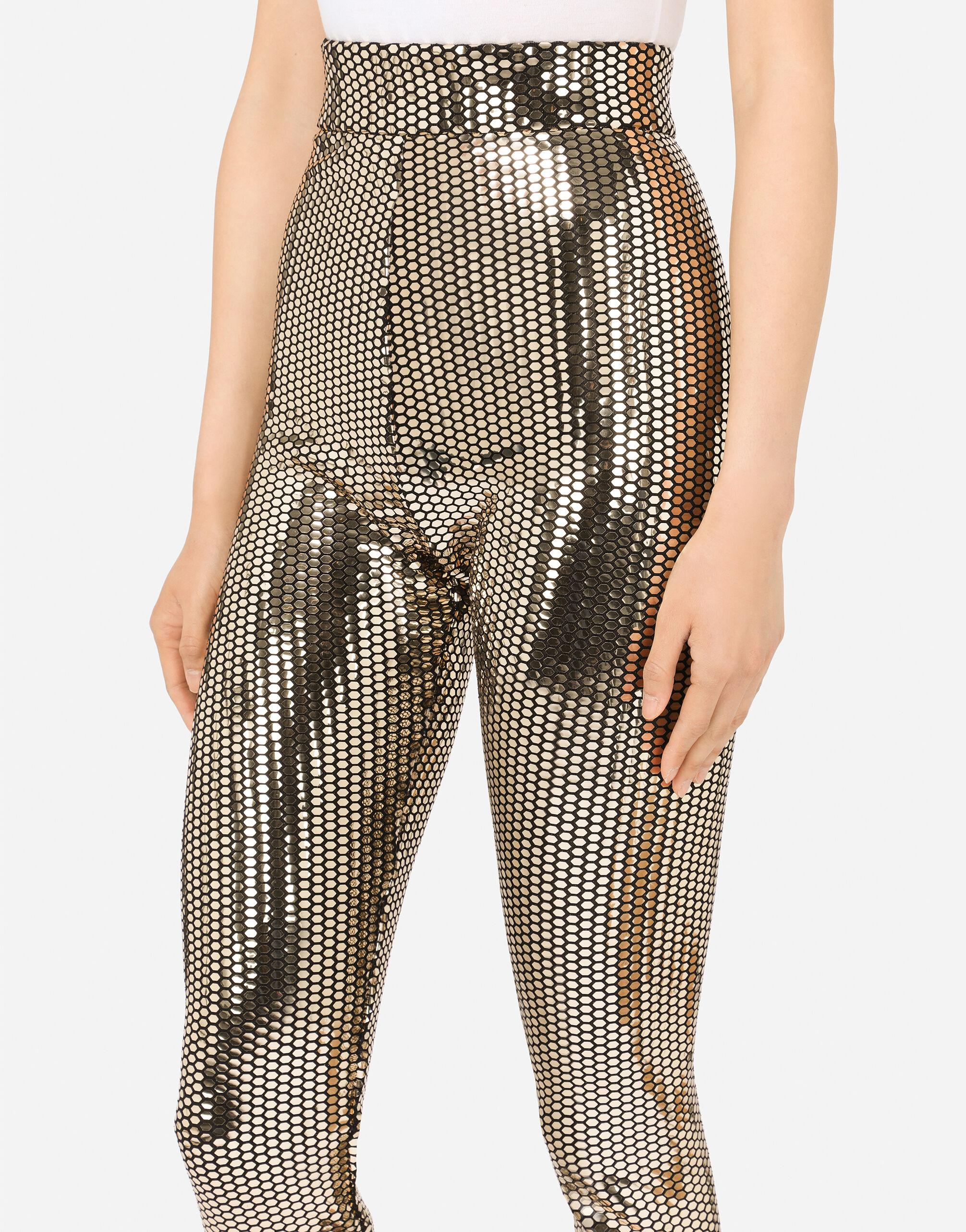 Foiled jersey leggings with draping 2
