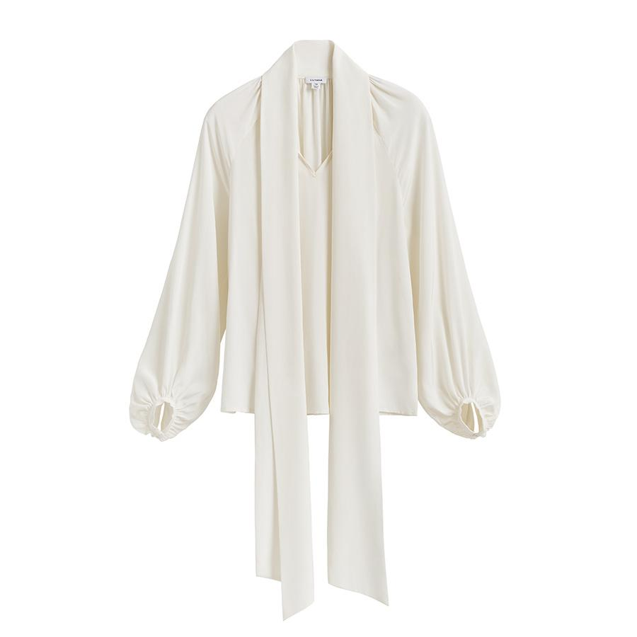 Women's Silk Bow Blouse in White | Size: