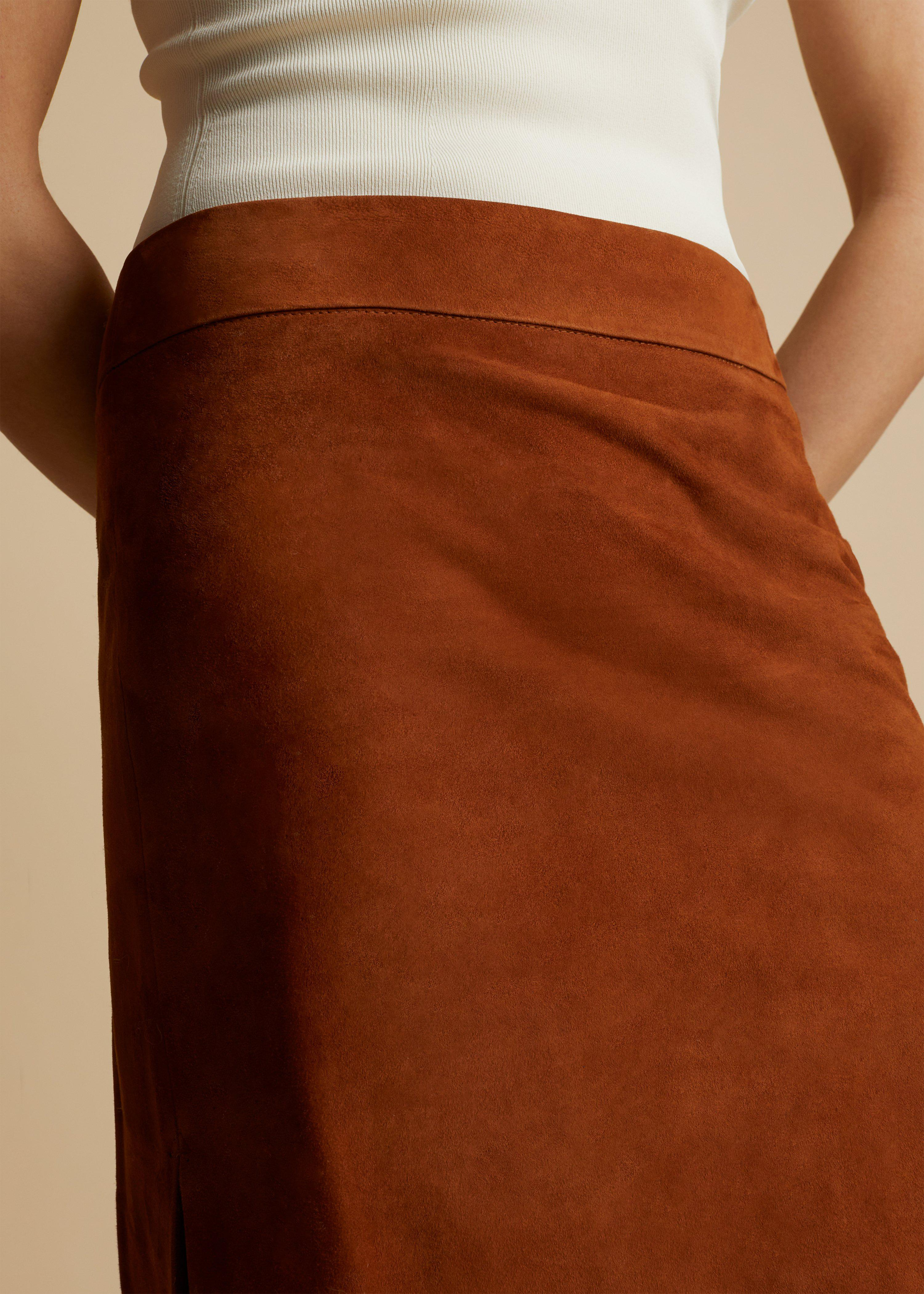 The Myla Skirt in Chestnut Suede 4