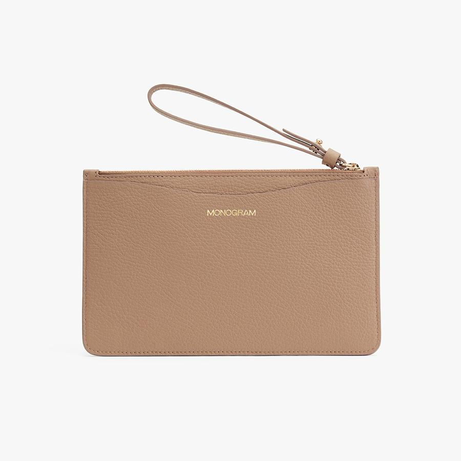 Women's Slim Wristlet Wallet in Cappuccino | Pebbled Leather by Cuyana 6