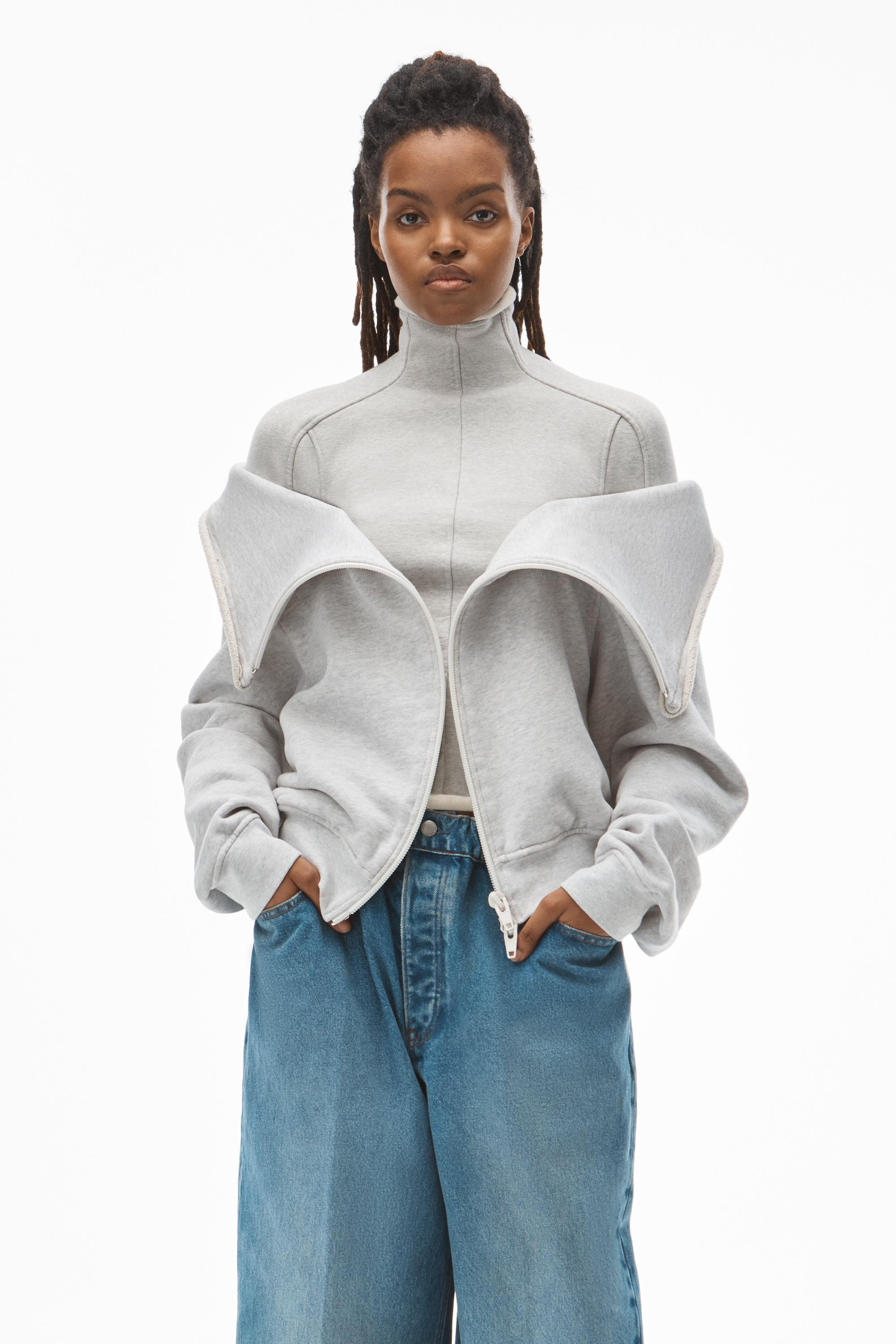 draped front sweatshirt in classic terry