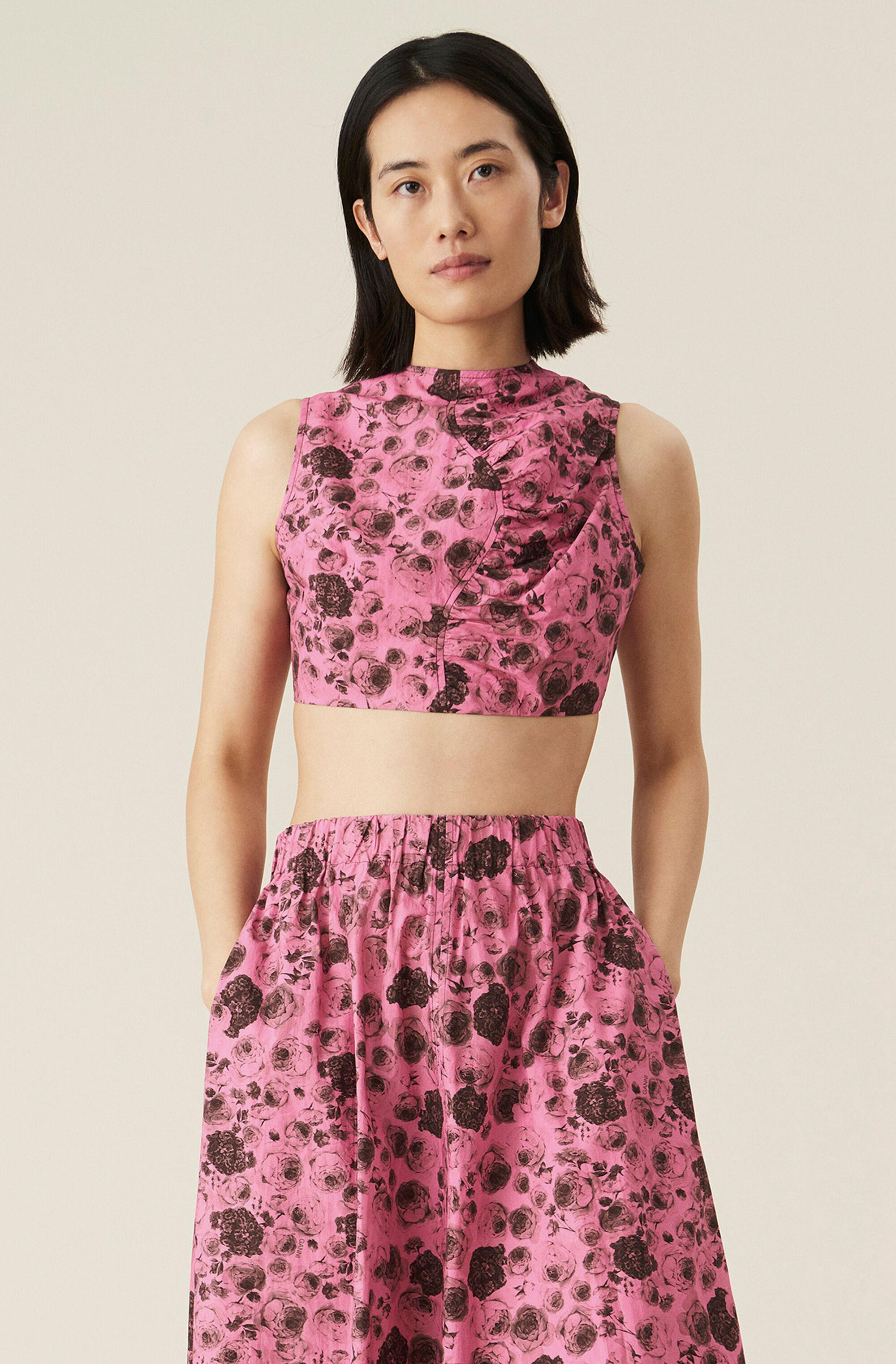 Cotton Poplin Asymmetrical Ruched Lace-Up Crop Top