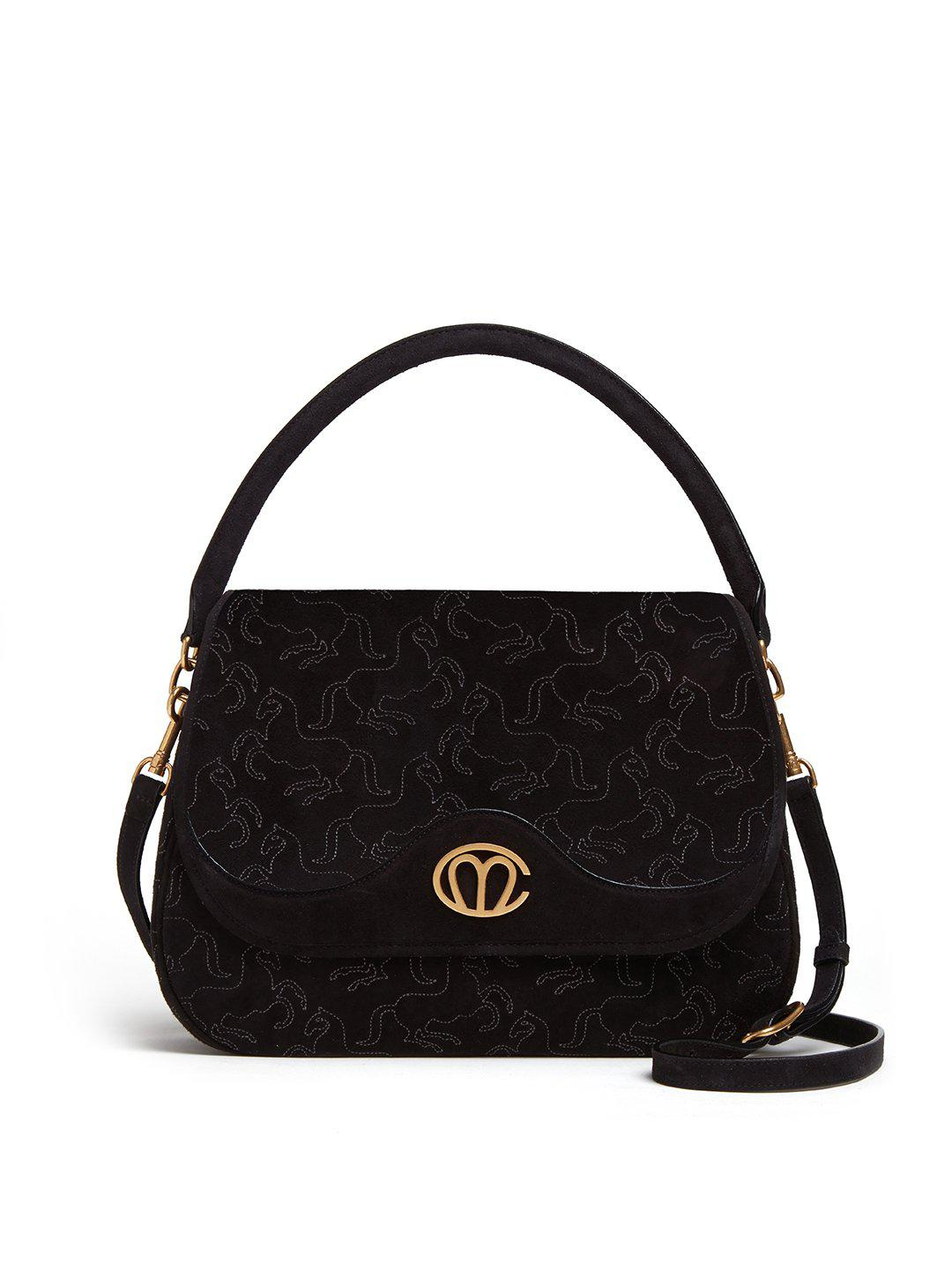 Christy Embroidered Suede Top Handle Bag