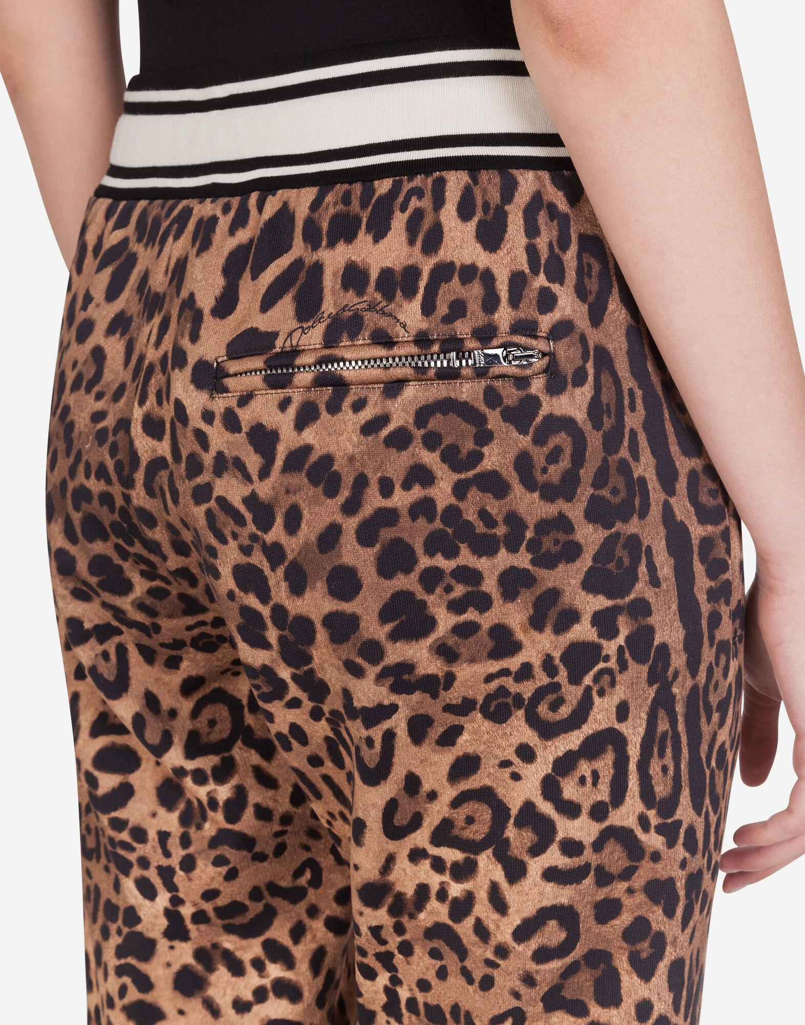 Jersey jogging pants with leopard print 4